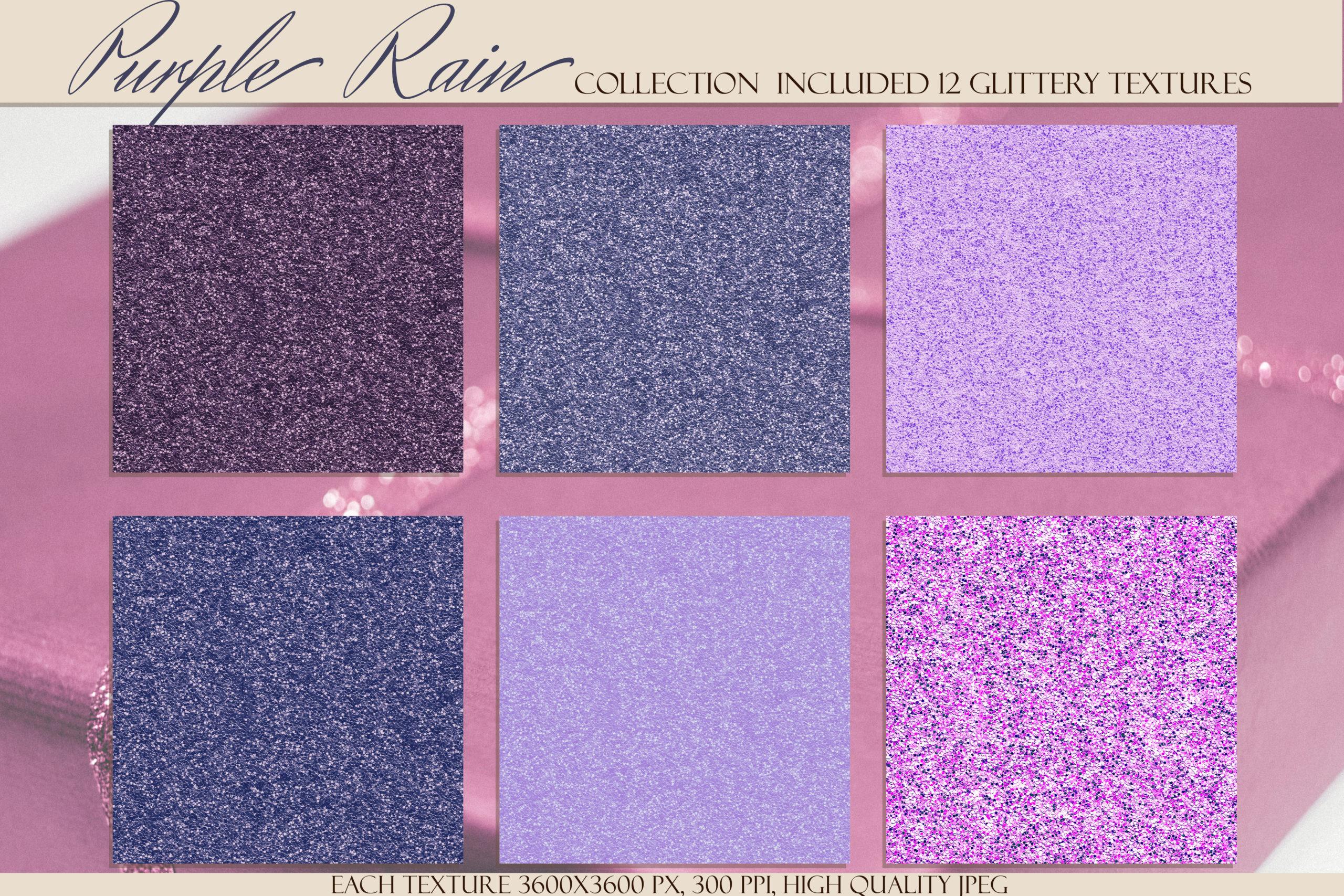 12款紫色闪光贴纸纹理背景图片素材 Purple Rain Glitter Texture Pack插图2