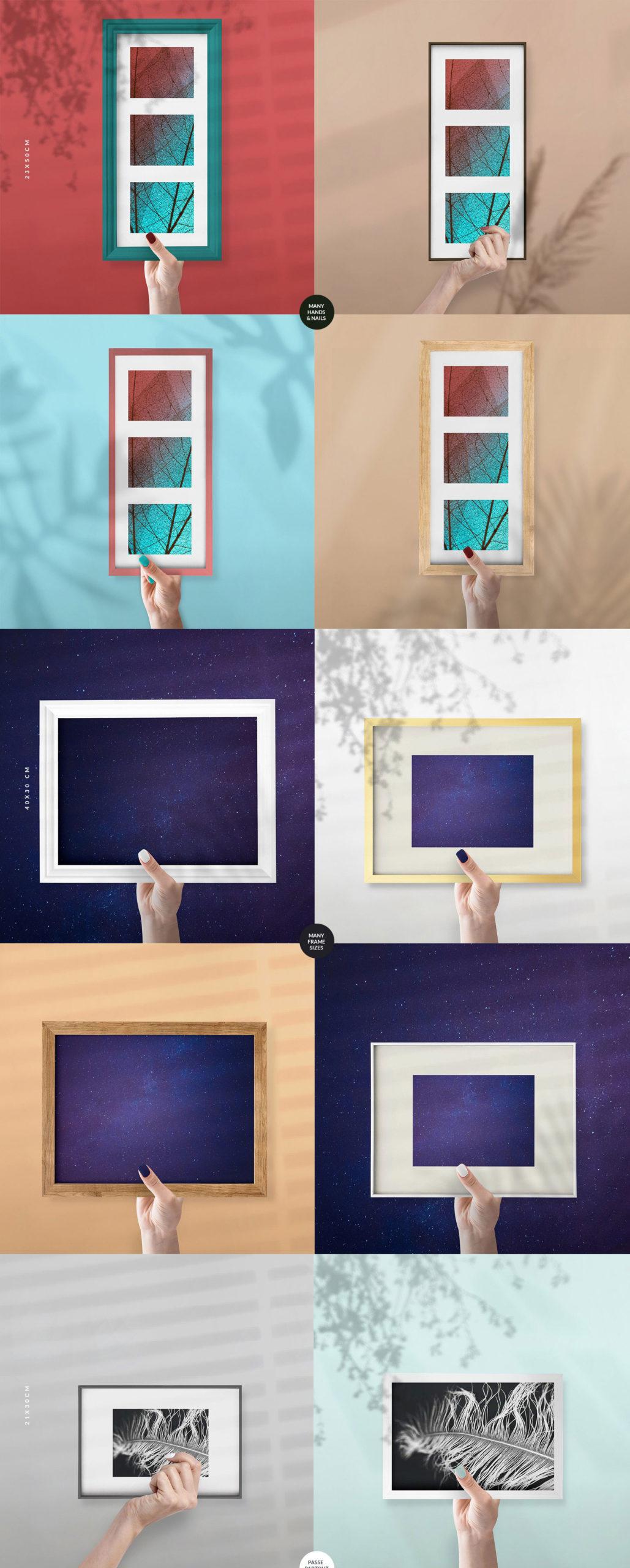 流行海报相片设计展示手持相框镜框PS贴图样机合集 The Frames vol.2 Mockups Set插图3