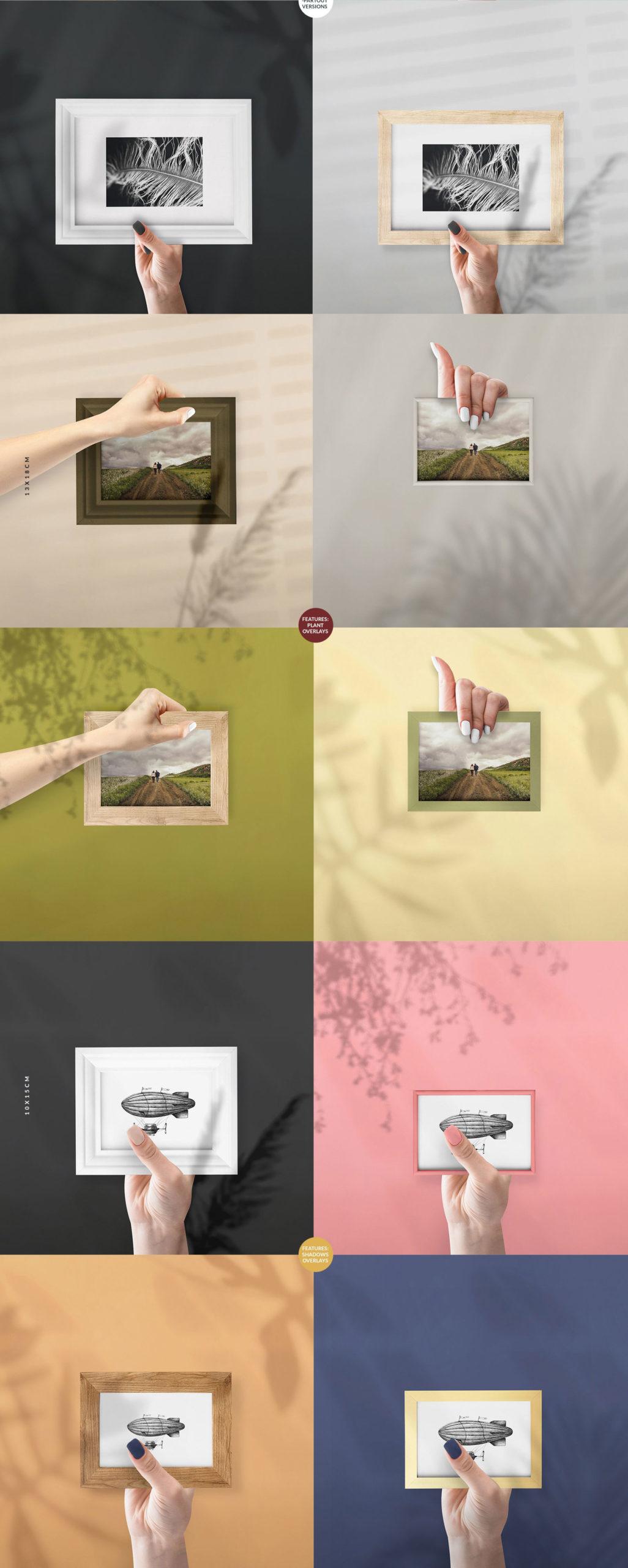 流行海报相片设计展示手持相框镜框PS贴图样机合集 The Frames vol.2 Mockups Set插图4
