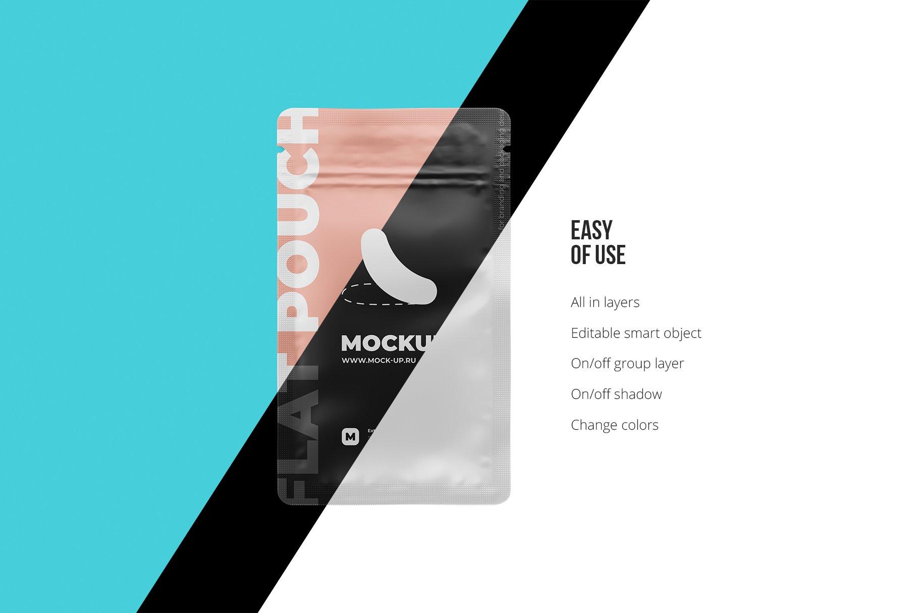 简洁香料自封塑料袋设计展示贴图样机 Zip Sachet Mockup. Flat Empty Pouch插图2