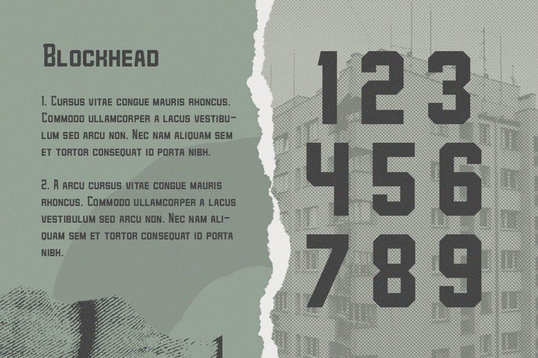 力量几何标题Logo设计衬线粗体英文字体 Blockhead Typeface Bold Geometric Font插图2