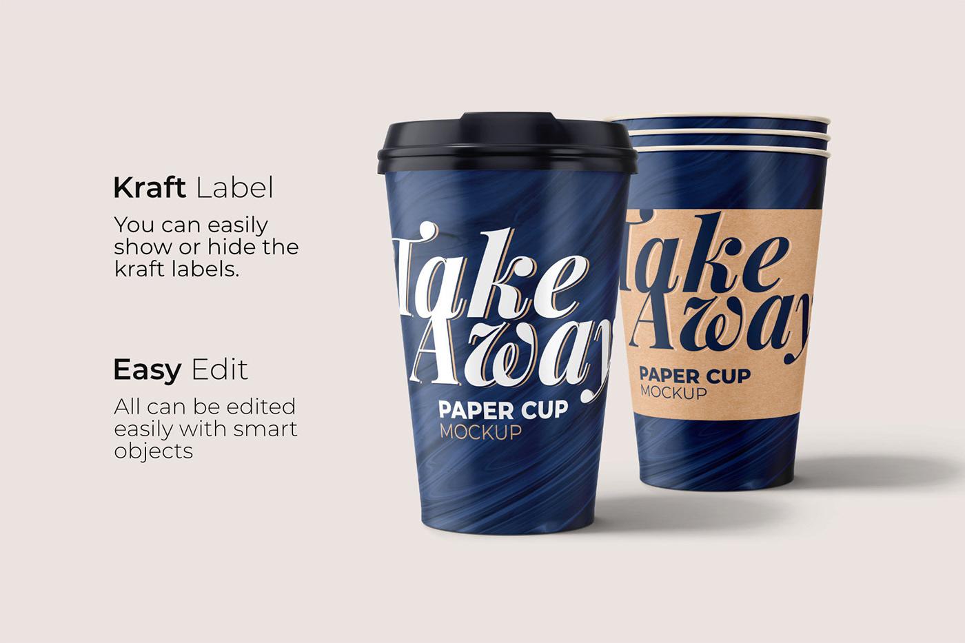 15款一次性外卖咖啡纸杯设计展示贴图样机模板 Take Away Paper Cup Mockup插图3