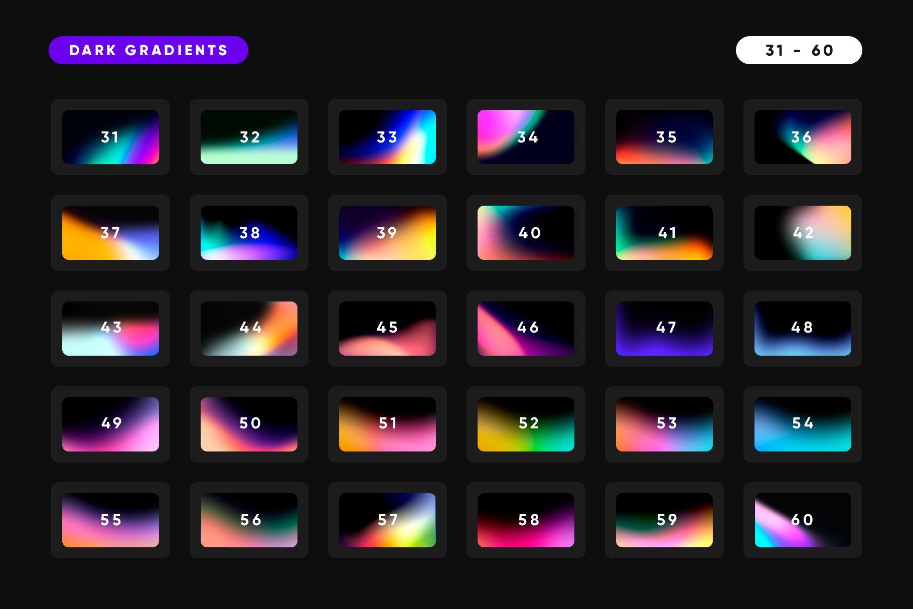 [淘宝购买] 165款虹彩炫彩渐变酸性APP设计手机屏保壁纸背景图片素材 150 Dark Gradients Collection插图3