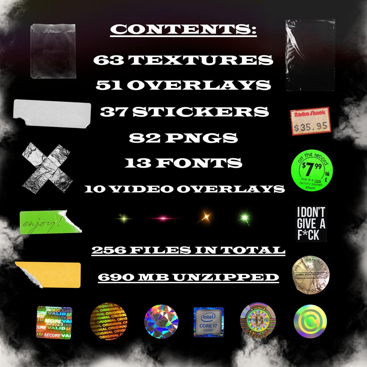 [单独购买] 256款潮流镭射专辑CD封面贴纸塑料膜故障纹理背景图片设计素材套装 Pluto Dripz – Secret Stash Vol. 1 (GFX Pack)插图1