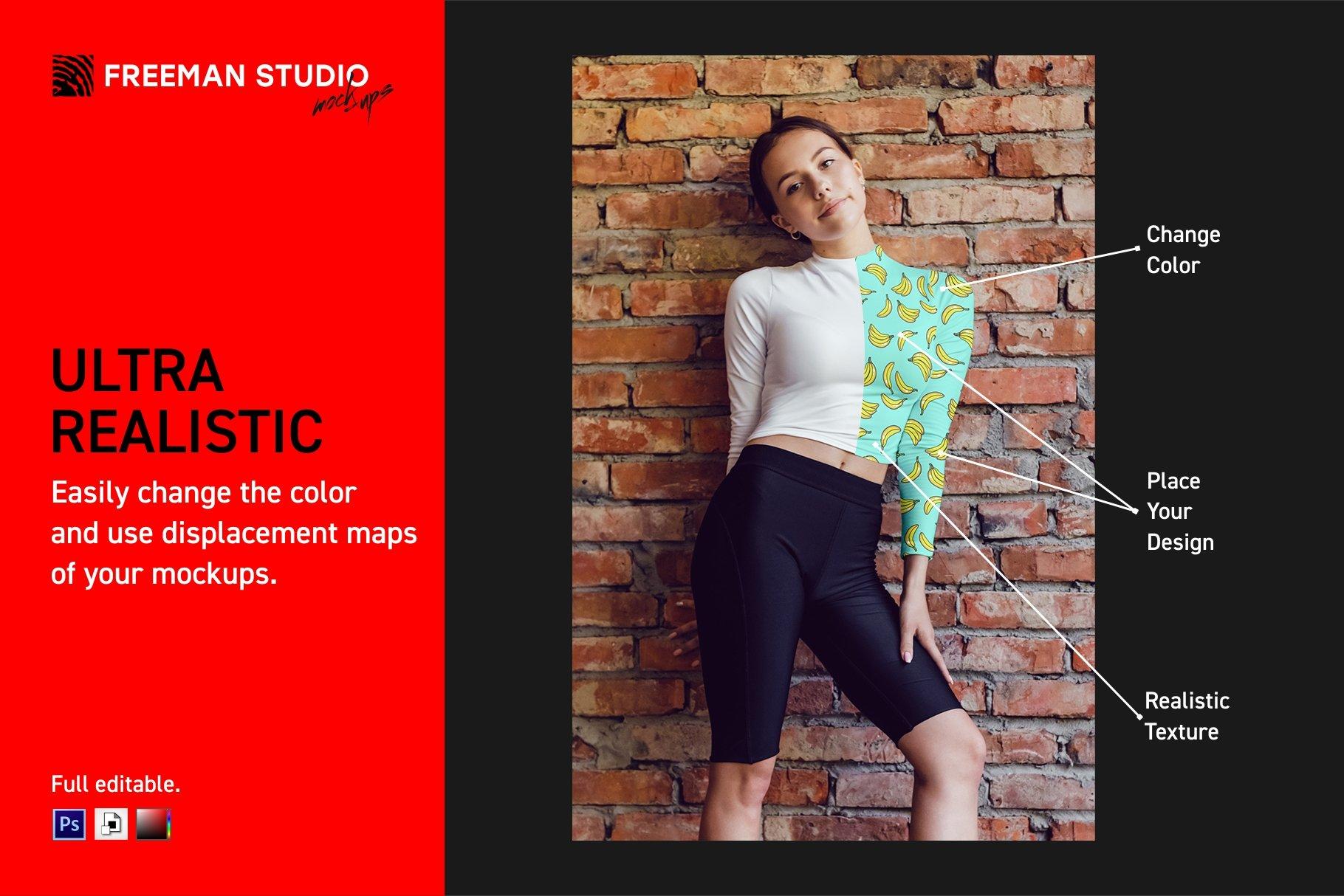 10款女式长袖短裤运动上衣印花图案设计PS贴图样机 Stretching Longsleeve Mockup Set插图2