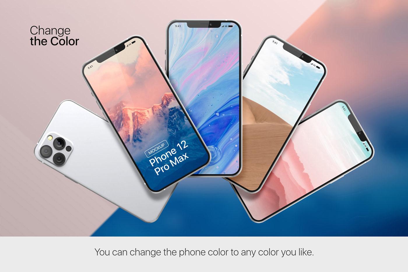 20款时尚苹果iPhone 12 Pro手机APP应用设计屏幕演示样机模板 iPhone 12 Pro Max Mockup插图3