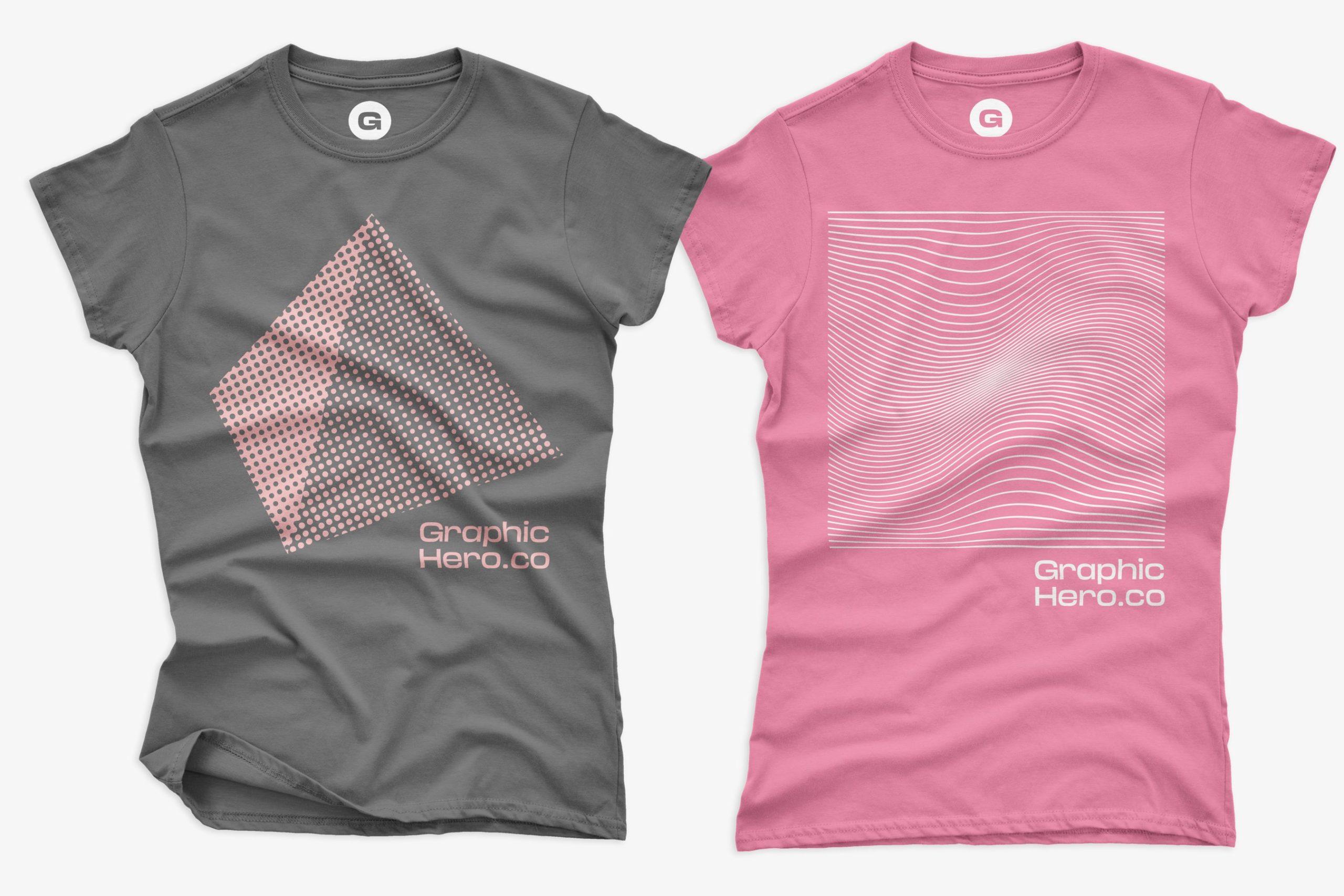 12款女式长款半袖T恤衫印花图案设计展示贴图样机 Gildan Ladies 64000 T-Shirt Mockups插图2