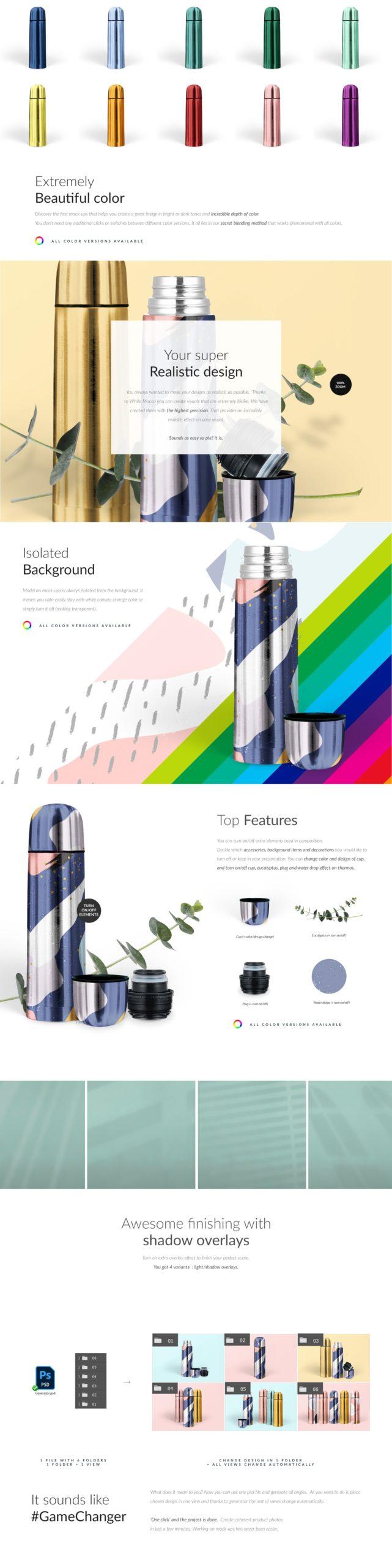 金属不锈钢保温壶设计展示贴图样机模板 Steel Thermos Mock-ups插图2