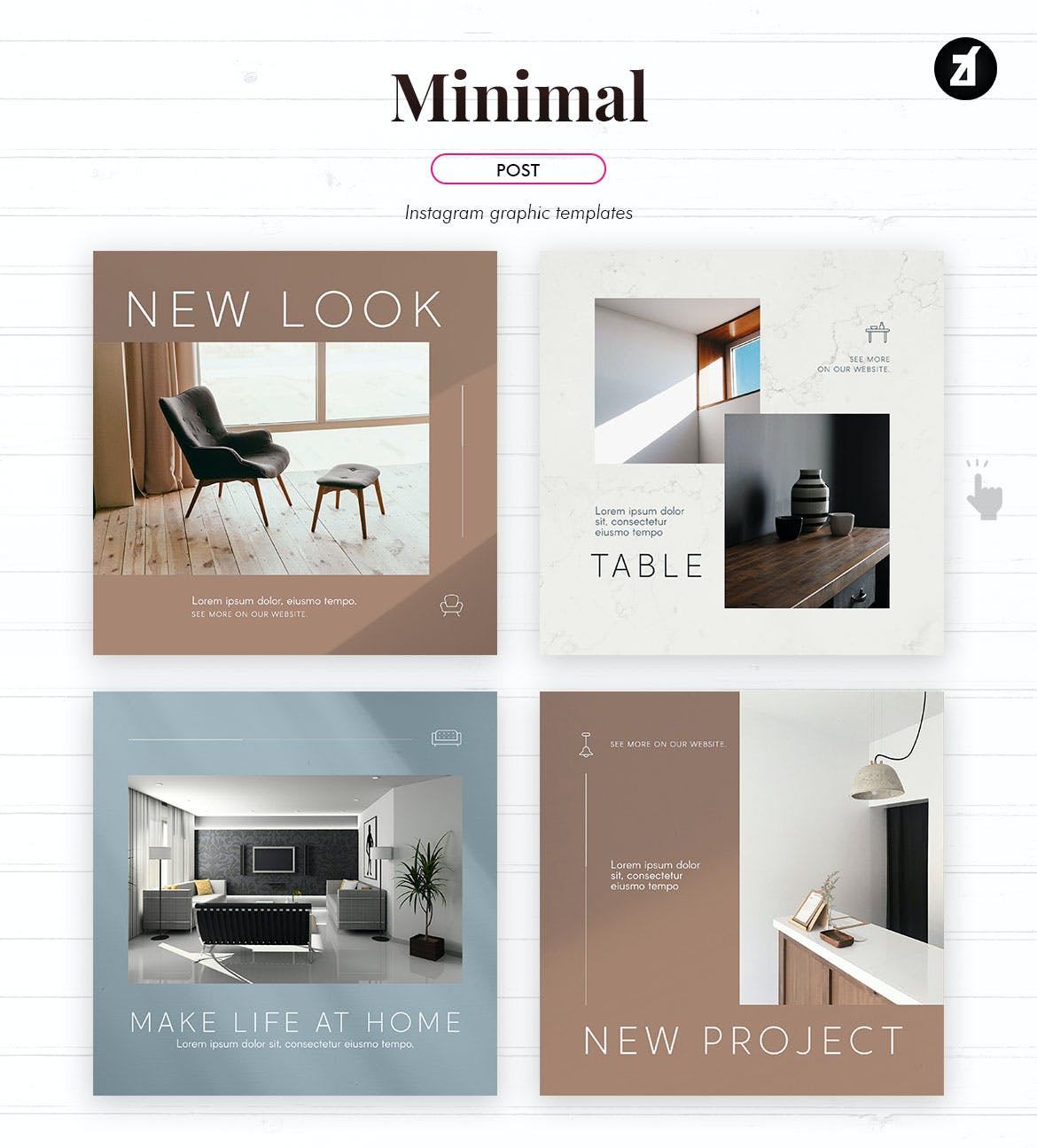 时尚家具设计作品集推广新媒体电商海报模板 Minimal Social Media Graphic Templates插图3
