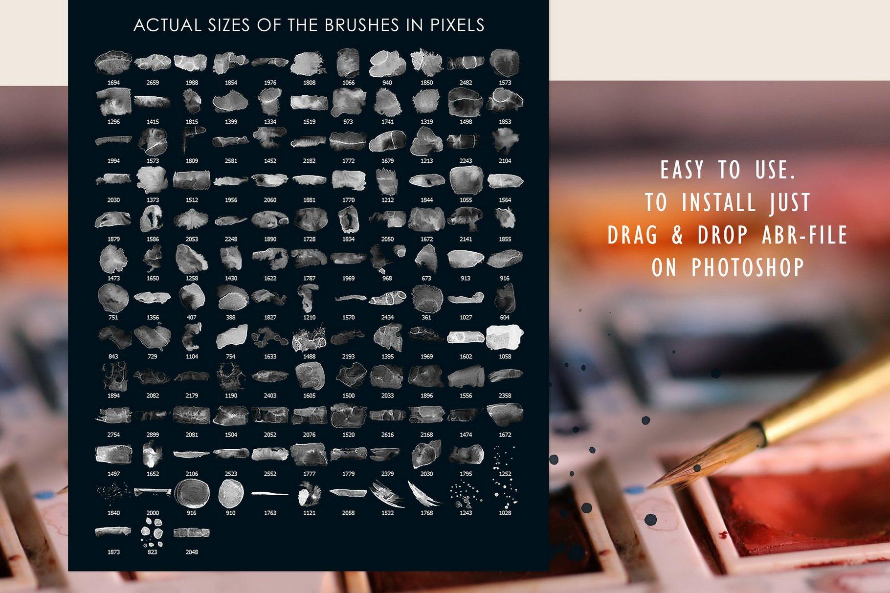 775款艺术气息水彩水墨丙烯酸绘画效果PS图章笔刷素材 Photoshop Stamp Brushes Bundle 2020插图15