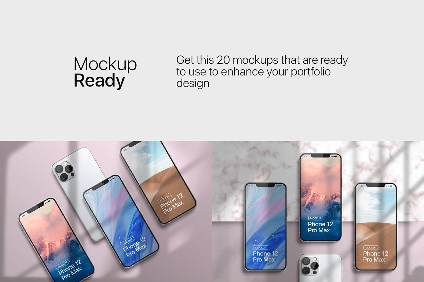 20款时尚苹果iPhone 12 Pro手机APP应用设计屏幕演示样机模板 iPhone 12 Pro Max Mockup插图4