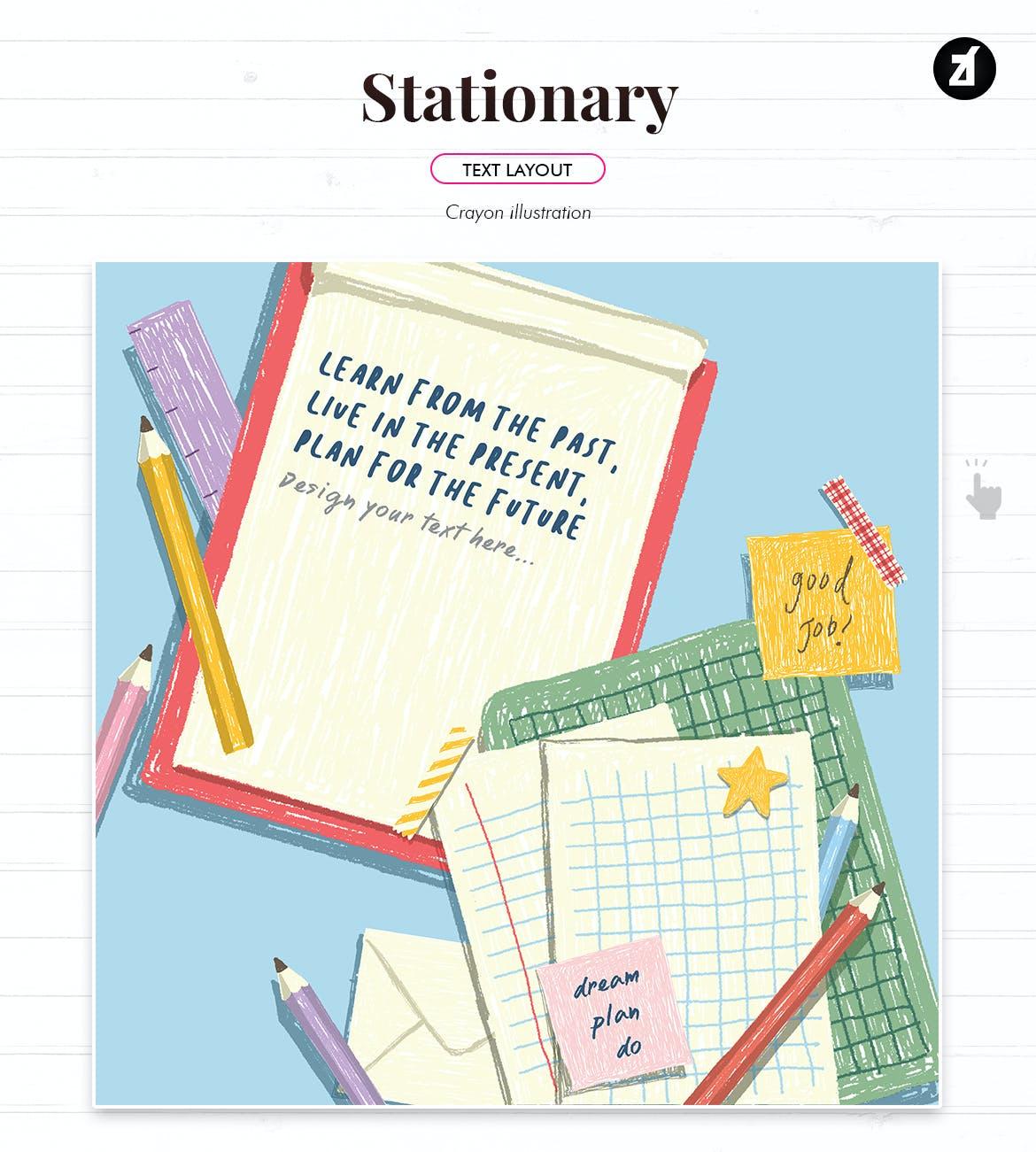 蜡笔绘画效果矢量背景设计素材 Stationary Illustration With Text Layout插图3