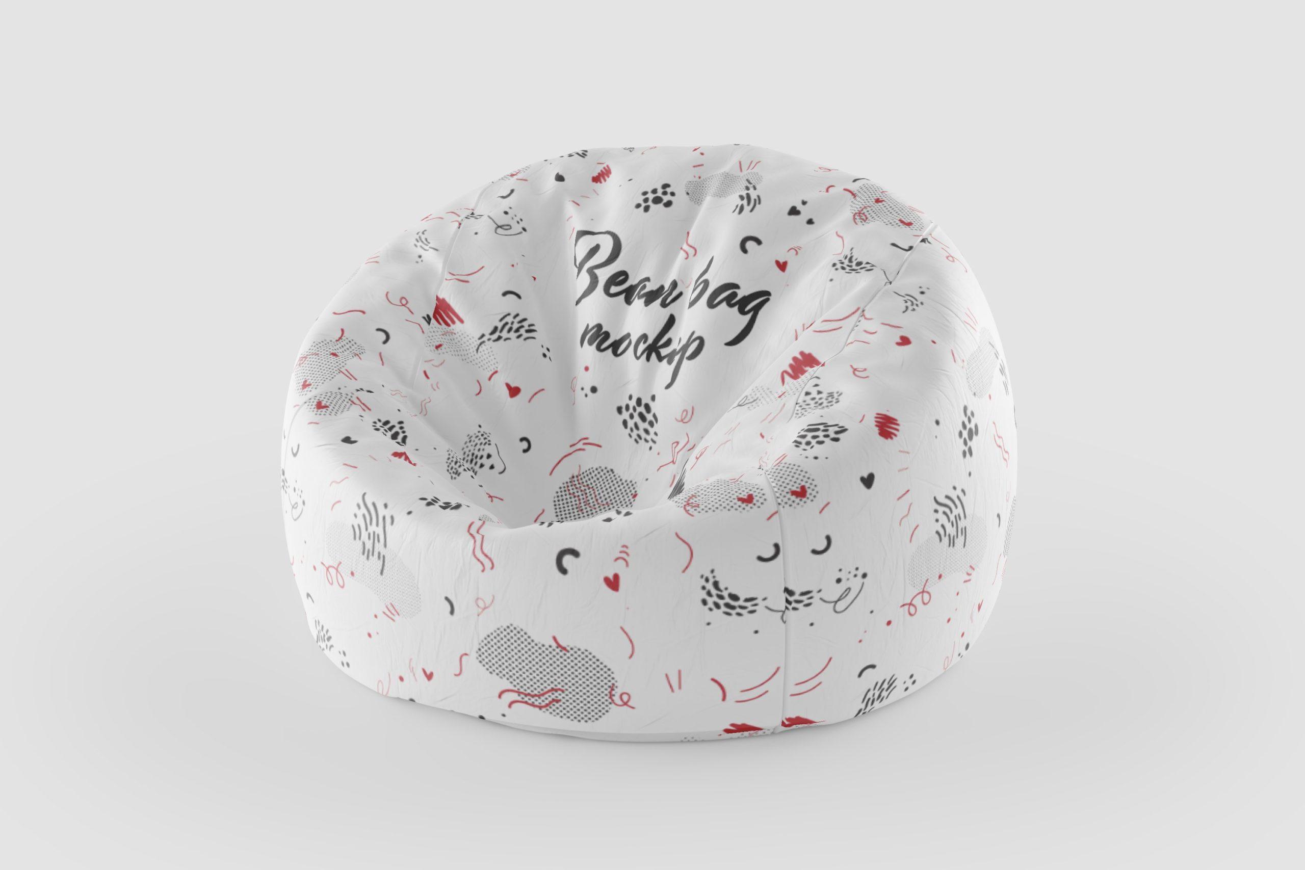 8款豆袋沙发椅子布料印花图案设计展示3D模型样机 Bean Bag 3D Mockup插图5