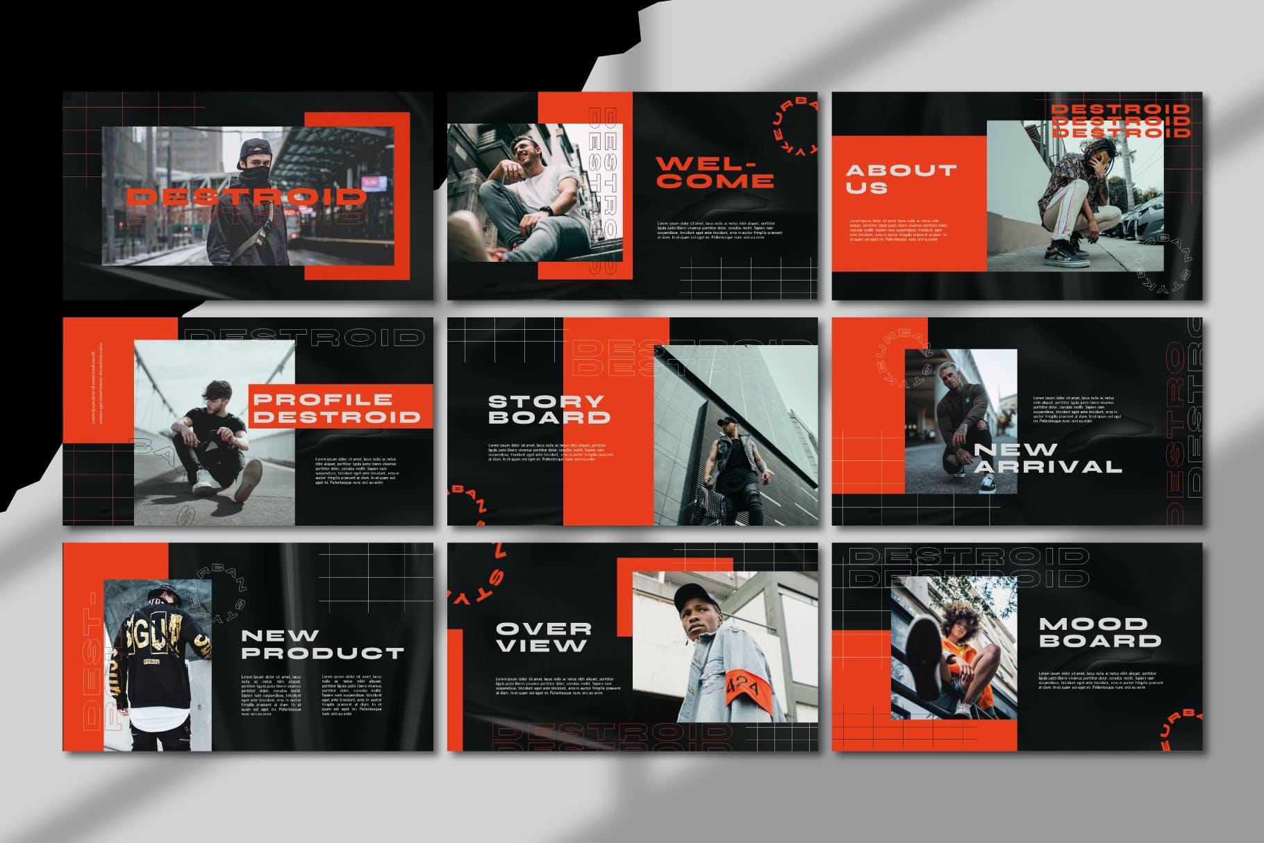 潮流街头潮牌服装推广PPT幻灯片设计模板 Destroid – Keynote Template插图3