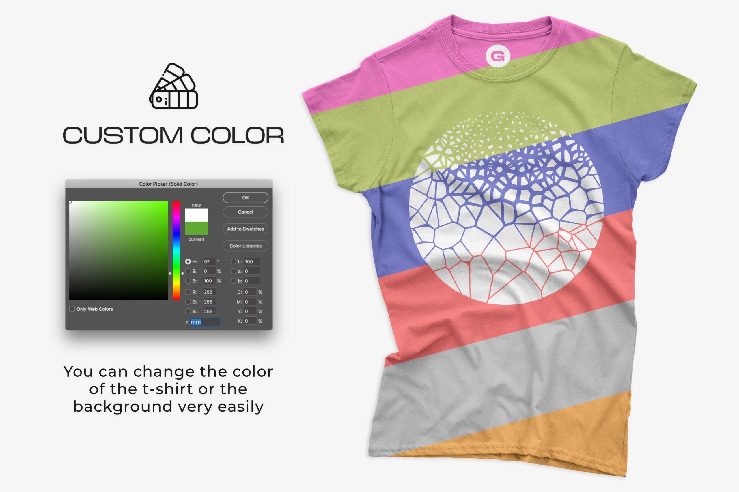 12款女式长款半袖T恤衫印花图案设计展示贴图样机 Gildan Ladies 64000 T-Shirt Mockups插图3