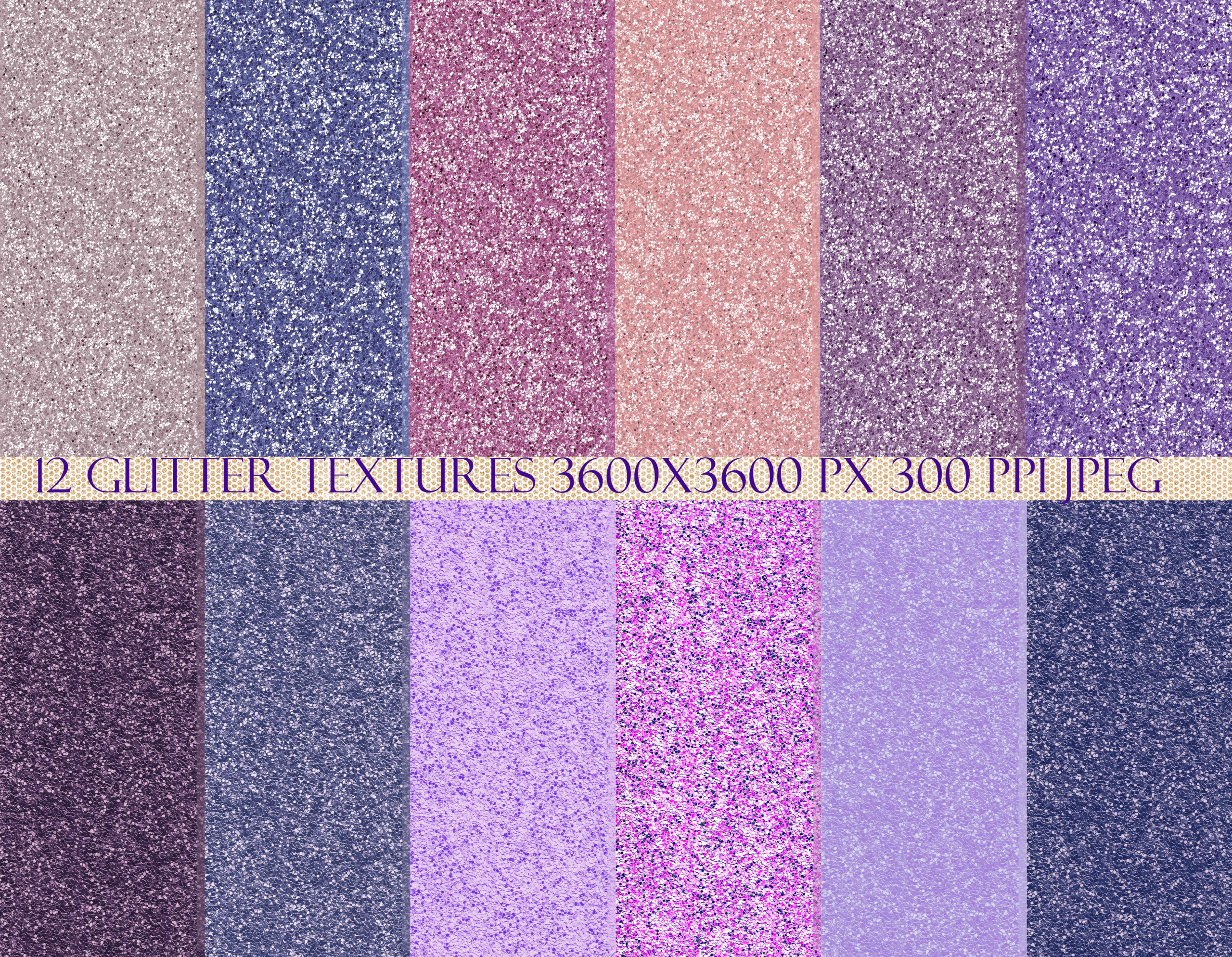 12款紫色闪光贴纸纹理背景图片素材 Purple Rain Glitter Texture Pack插图4