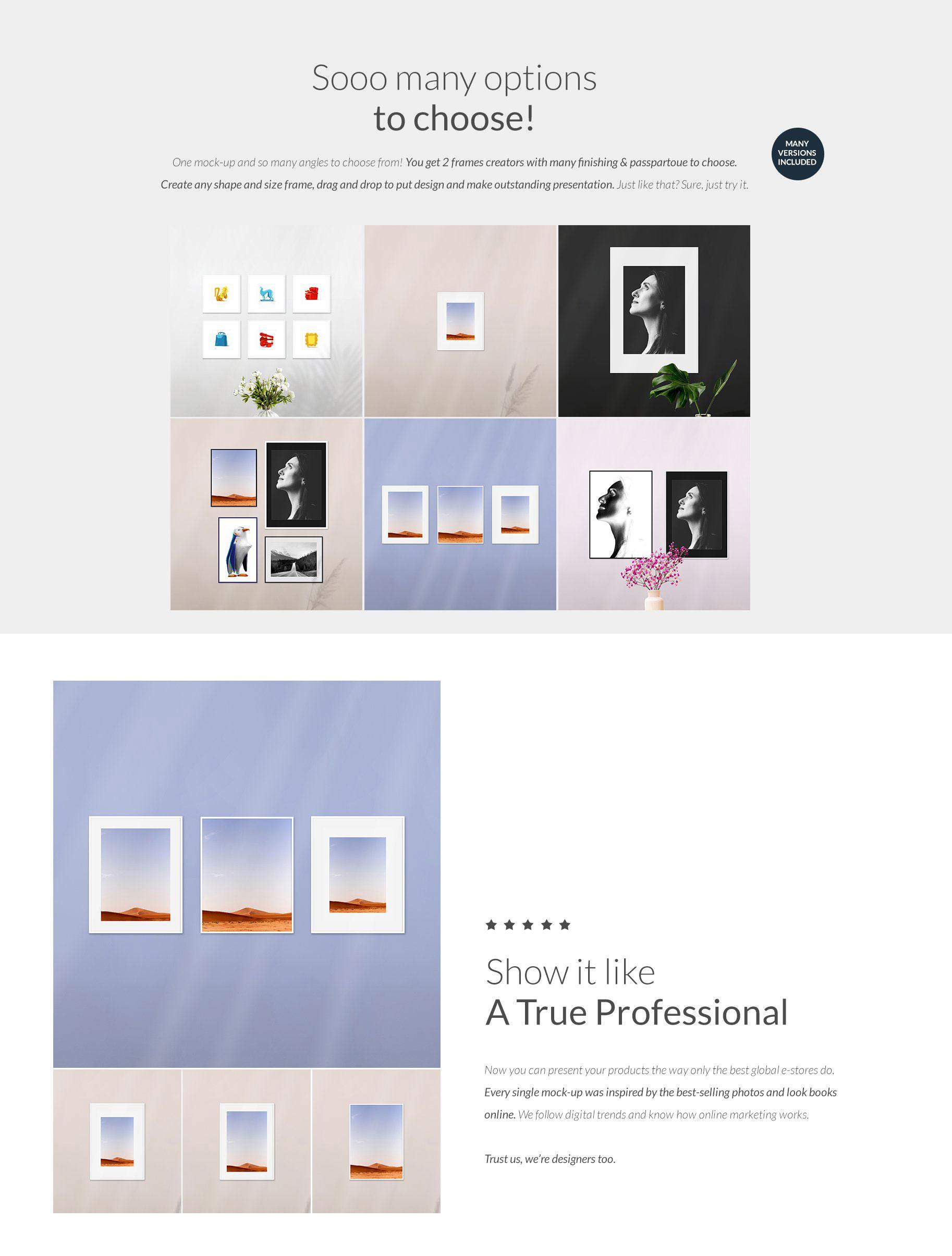 时尚绘画艺术品相片展示相框框架样机模板 Automatic Frame Mock-up Creator插图6