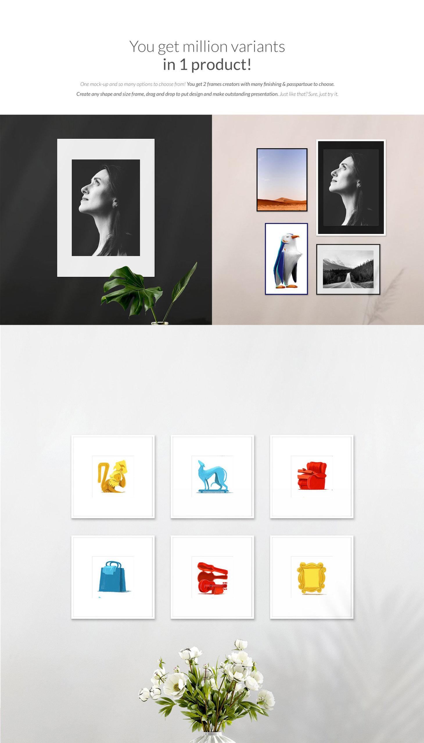 时尚绘画艺术品相片展示相框框架样机模板 Automatic Frame Mock-up Creator插图7