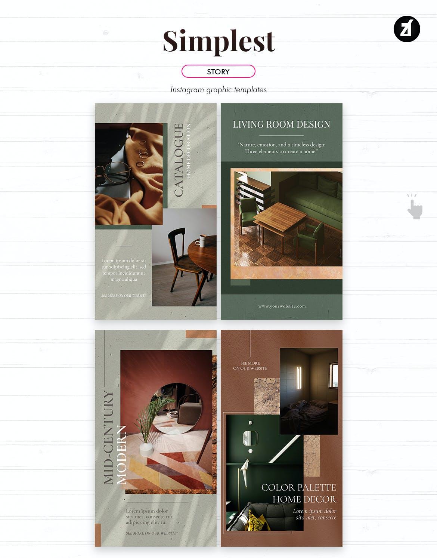 现代时尚室内家居设计作品集推广新媒体电商海报模板 The Simplest Social Media Graphic Templates插图4
