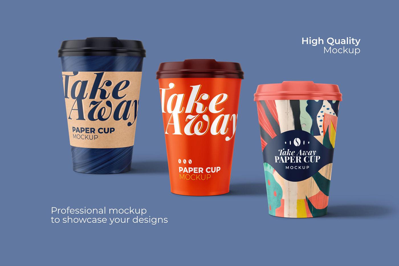 15款一次性外卖咖啡纸杯设计展示贴图样机模板 Take Away Paper Cup Mockup插图5