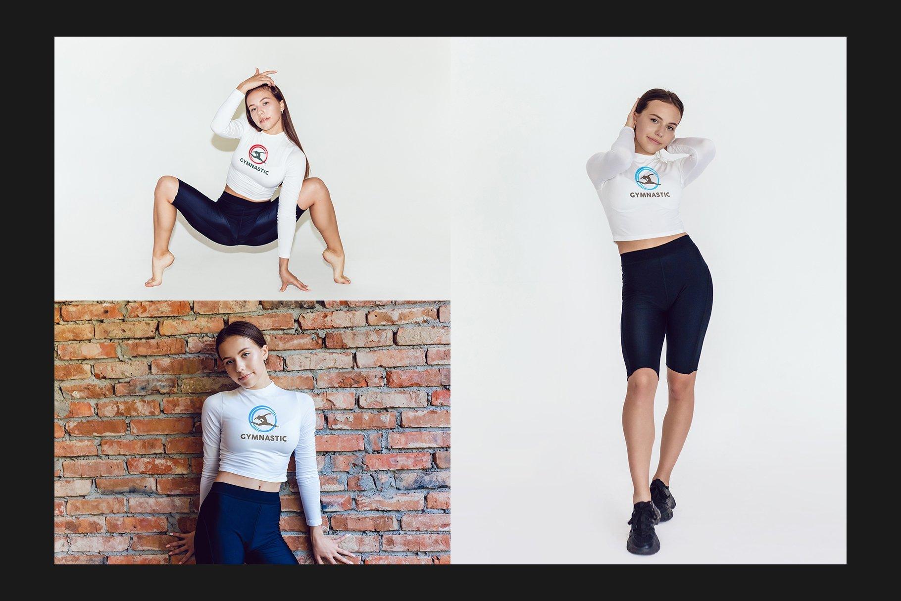 10款女式长袖短裤运动上衣印花图案设计PS贴图样机 Stretching Longsleeve Mockup Set插图4