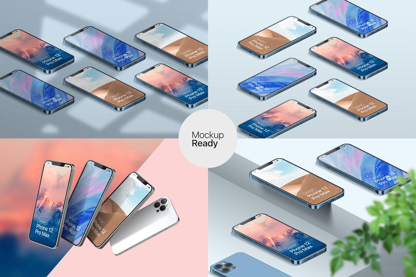 20款时尚苹果iPhone 12 Pro手机APP应用设计屏幕演示样机模板 iPhone 12 Pro Max Mockup插图5