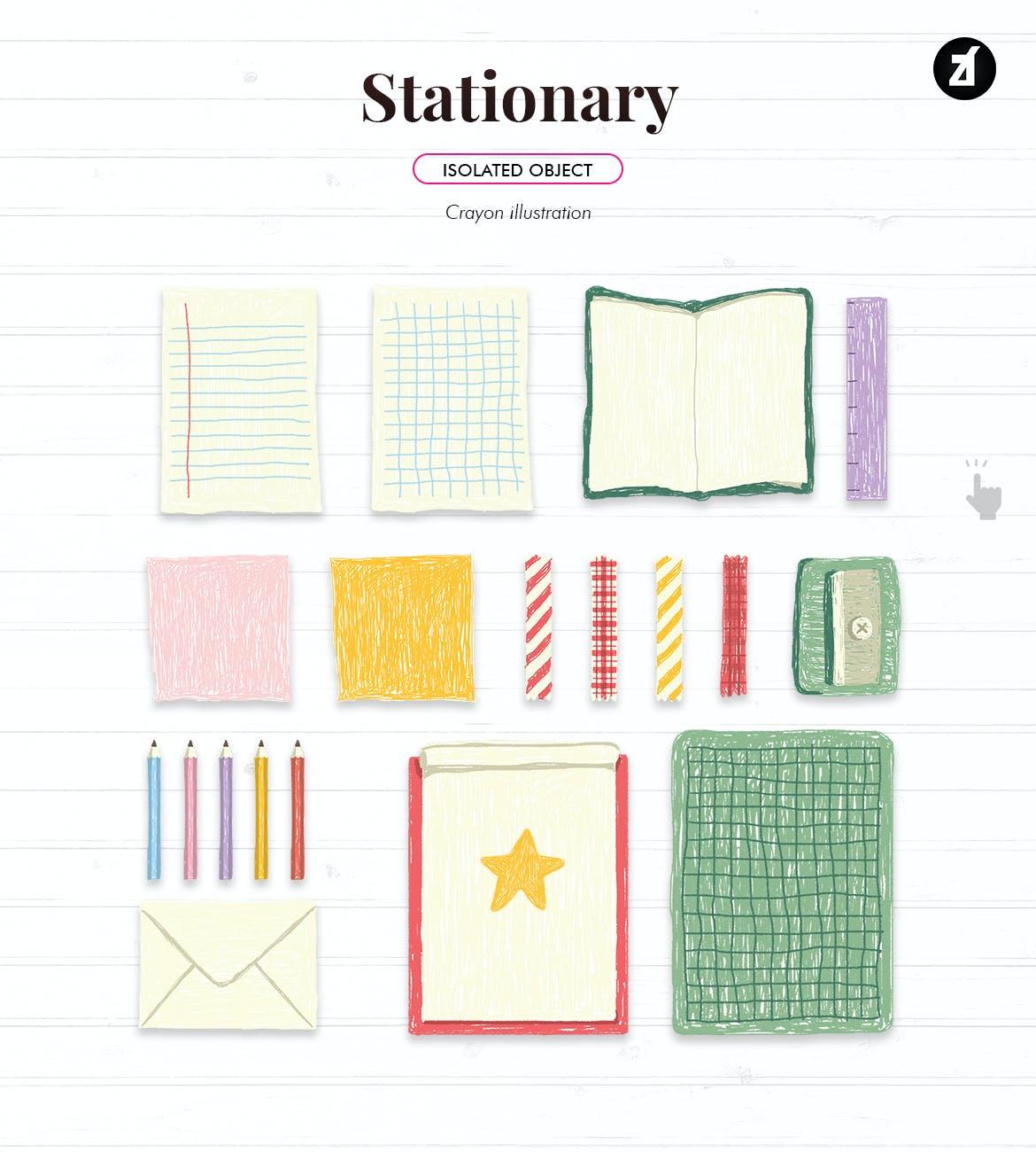 蜡笔绘画效果矢量背景设计素材 Stationary Illustration With Text Layout插图4