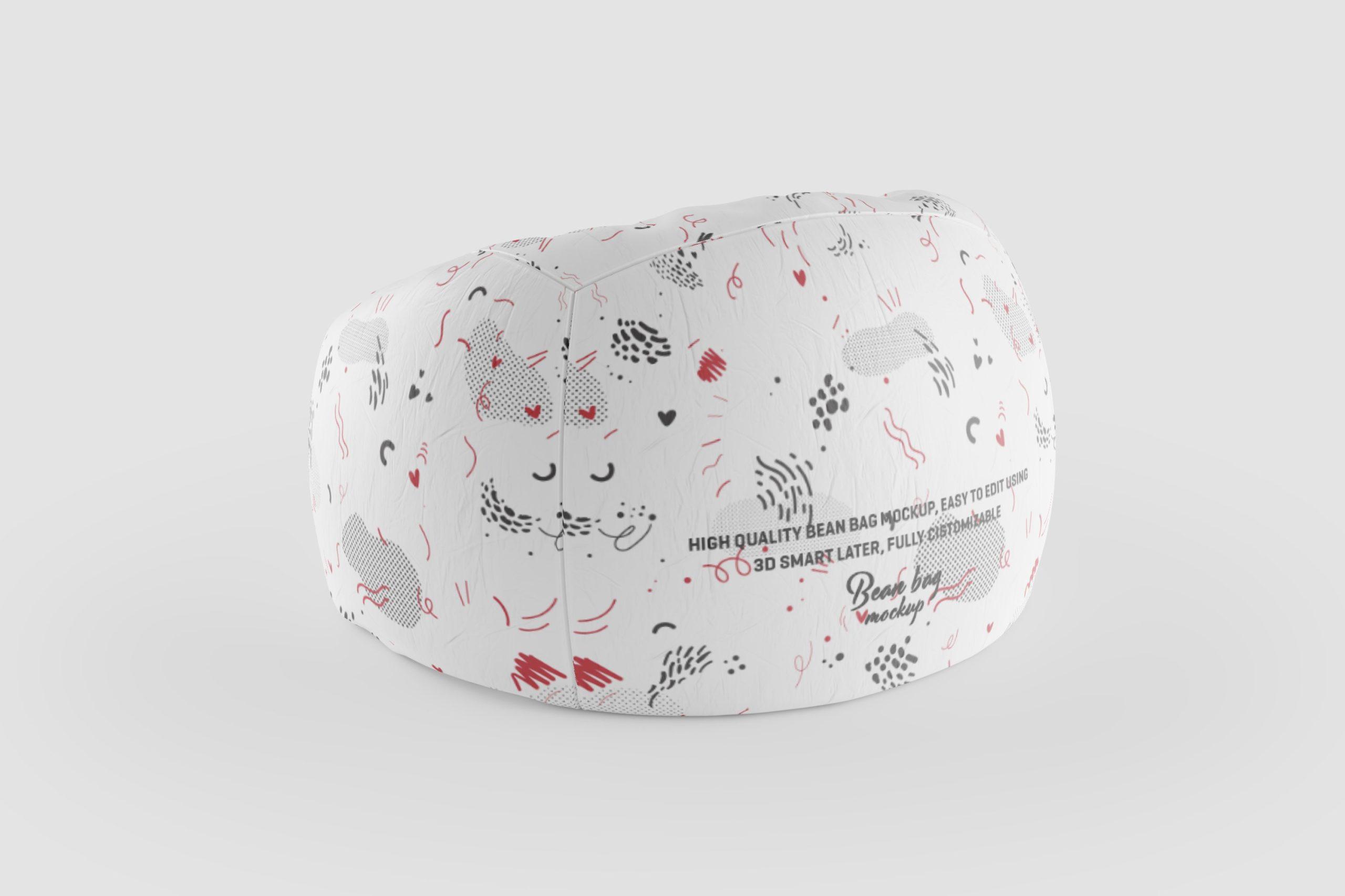 8款豆袋沙发椅子布料印花图案设计展示3D模型样机 Bean Bag 3D Mockup插图6