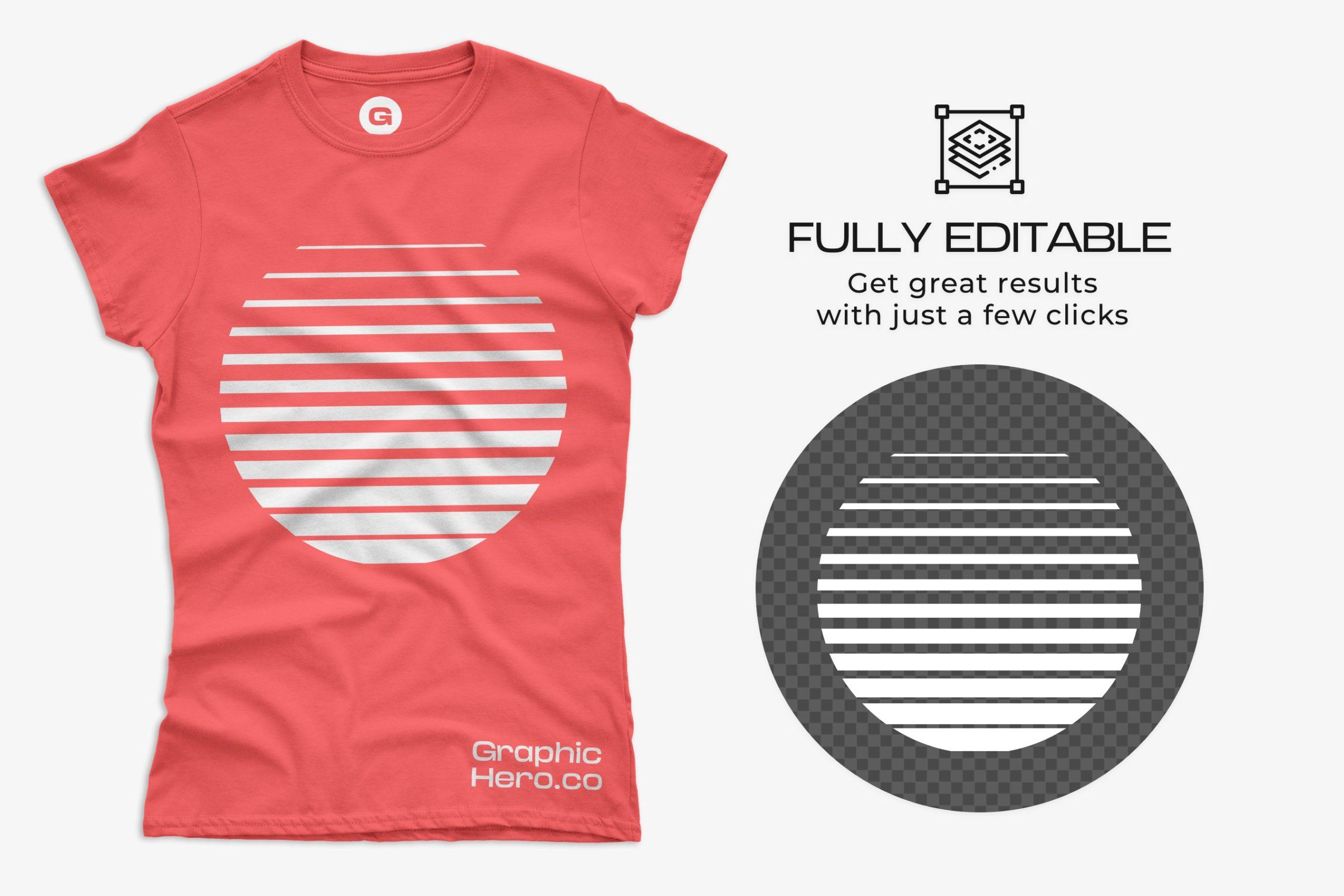 12款女式长款半袖T恤衫印花图案设计展示贴图样机 Gildan Ladies 64000 T-Shirt Mockups插图4