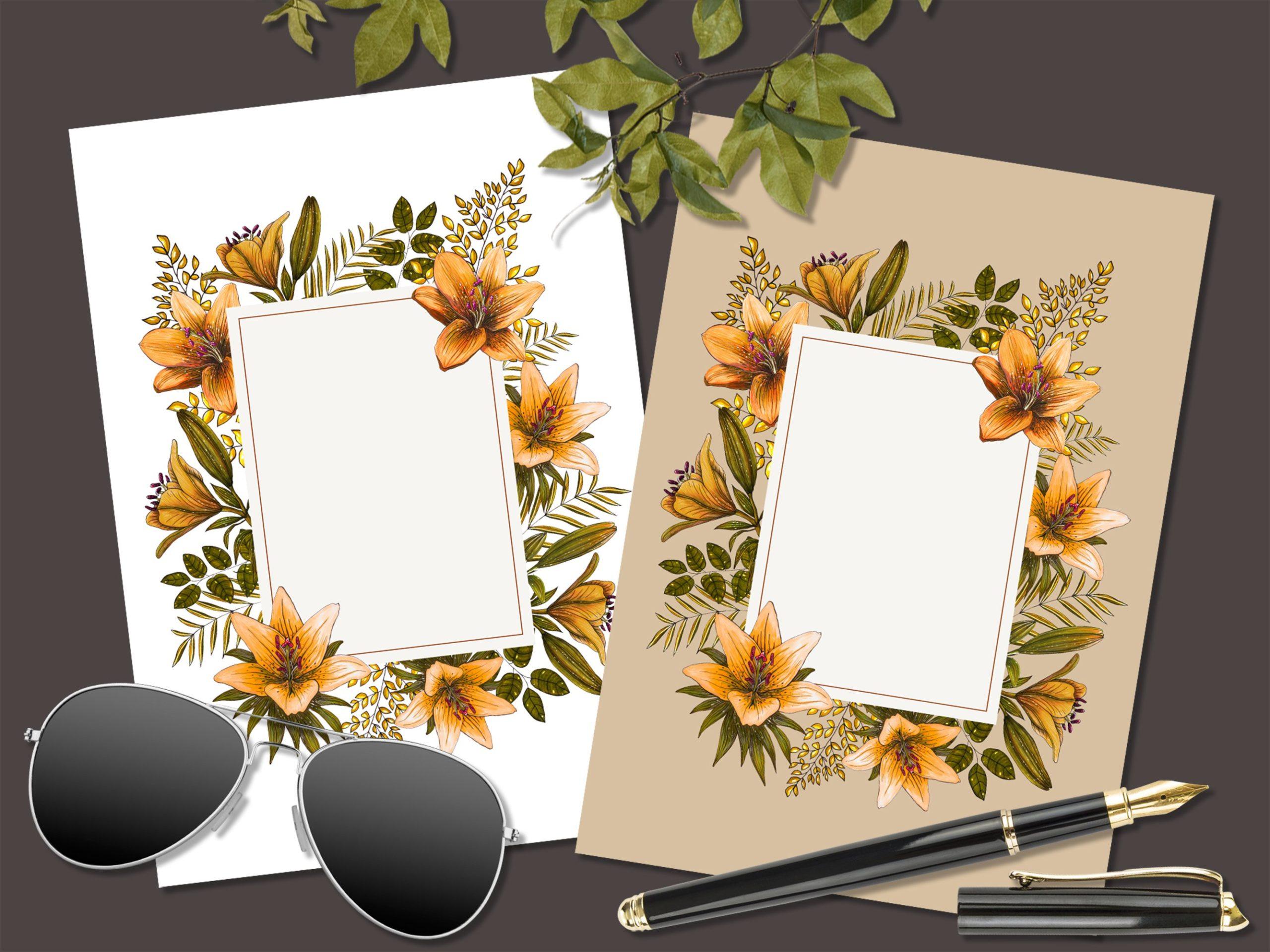 橙色无缝隙百合花手绘水彩画图片设计素材 Orange Lilies. Patterns and Postcards插图5