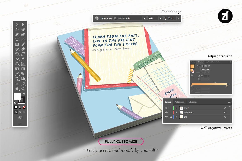 蜡笔绘画效果矢量背景设计素材 Stationary Illustration With Text Layout插图5