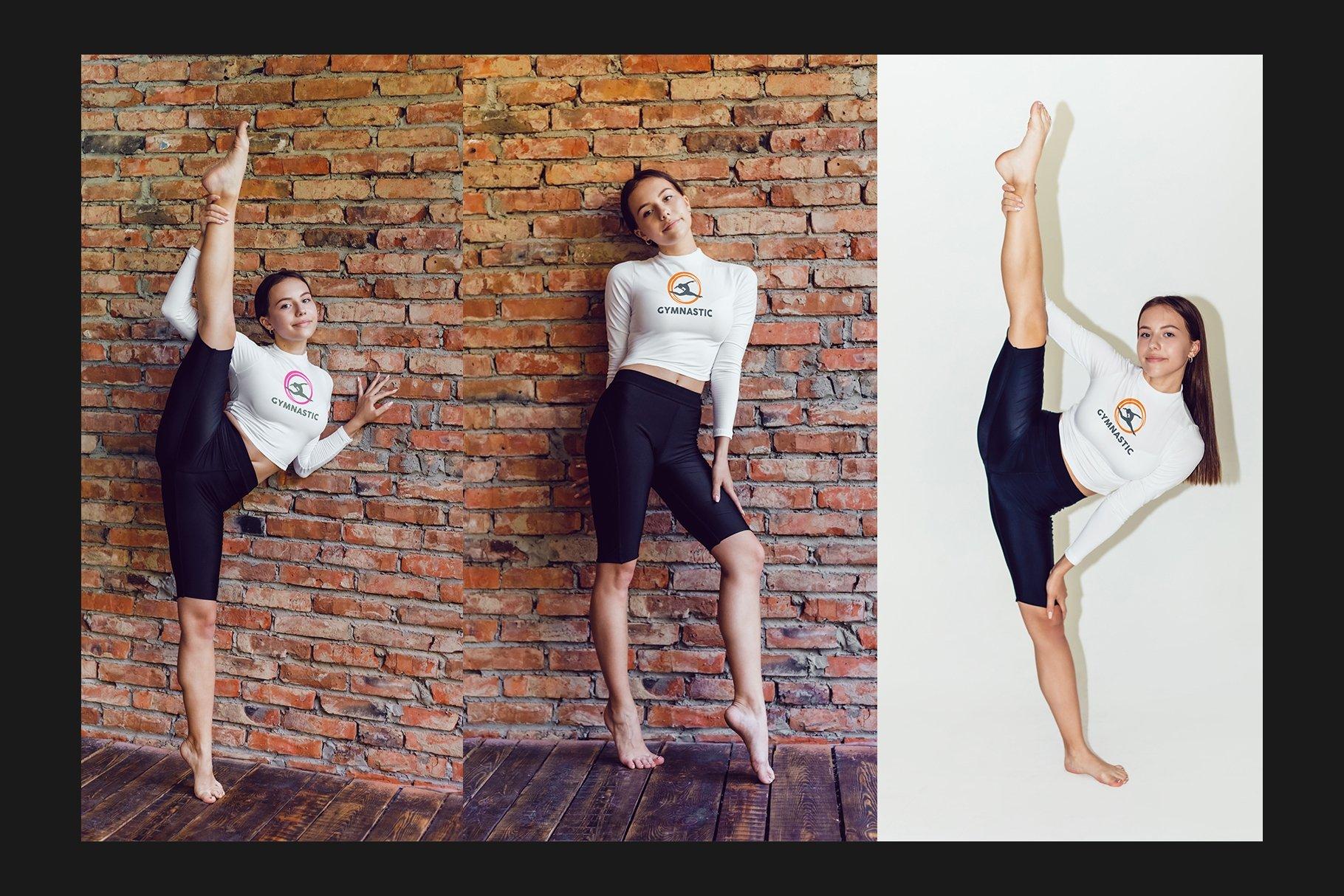 10款女式长袖短裤运动上衣印花图案设计PS贴图样机 Stretching Longsleeve Mockup Set插图5