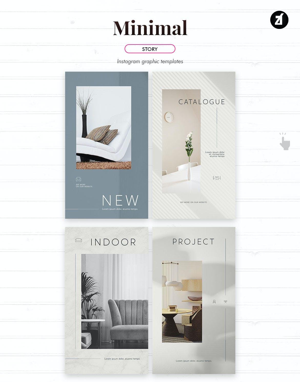 时尚家具设计作品集推广新媒体电商海报模板 Minimal Social Media Graphic Templates插图5
