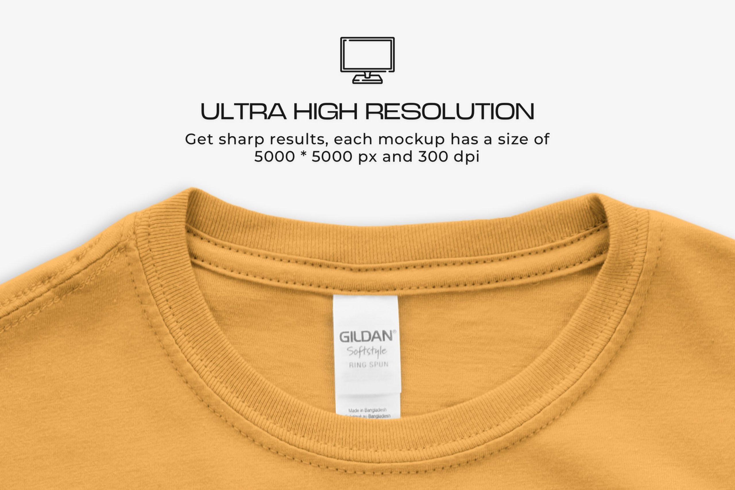 12款女式长款半袖T恤衫印花图案设计展示贴图样机 Gildan Ladies 64000 T-Shirt Mockups插图5