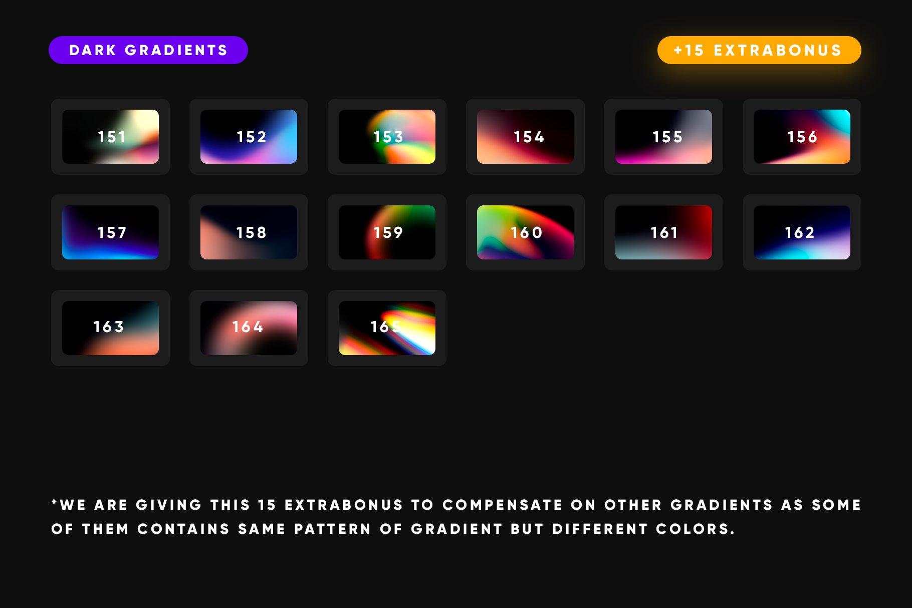 [淘宝购买] 165款虹彩炫彩渐变酸性APP设计手机屏保壁纸背景图片素材 150 Dark Gradients Collection插图7