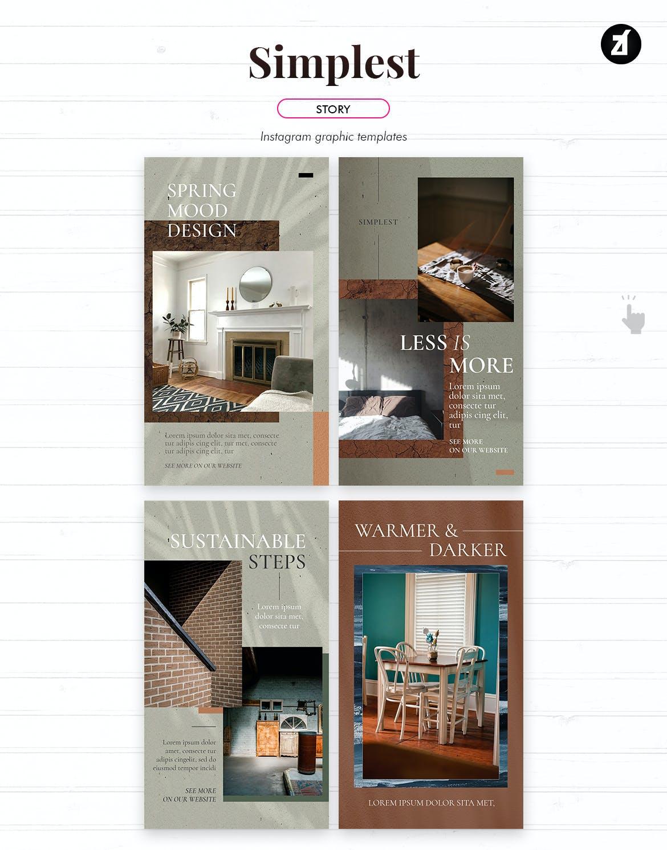 现代时尚室内家居设计作品集推广新媒体电商海报模板 The Simplest Social Media Graphic Templates插图6