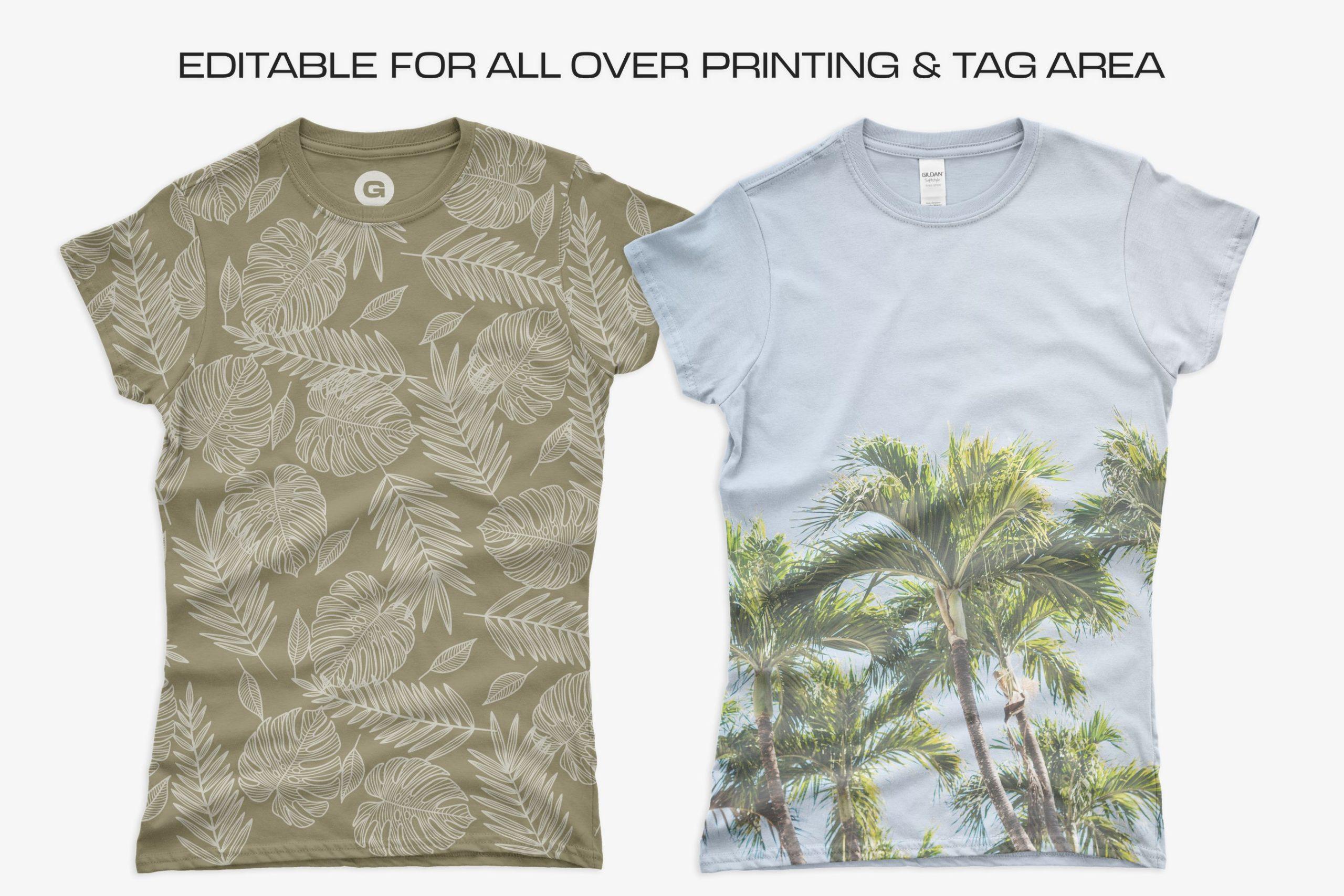 12款女式长款半袖T恤衫印花图案设计展示贴图样机 Gildan Ladies 64000 T-Shirt Mockups插图6
