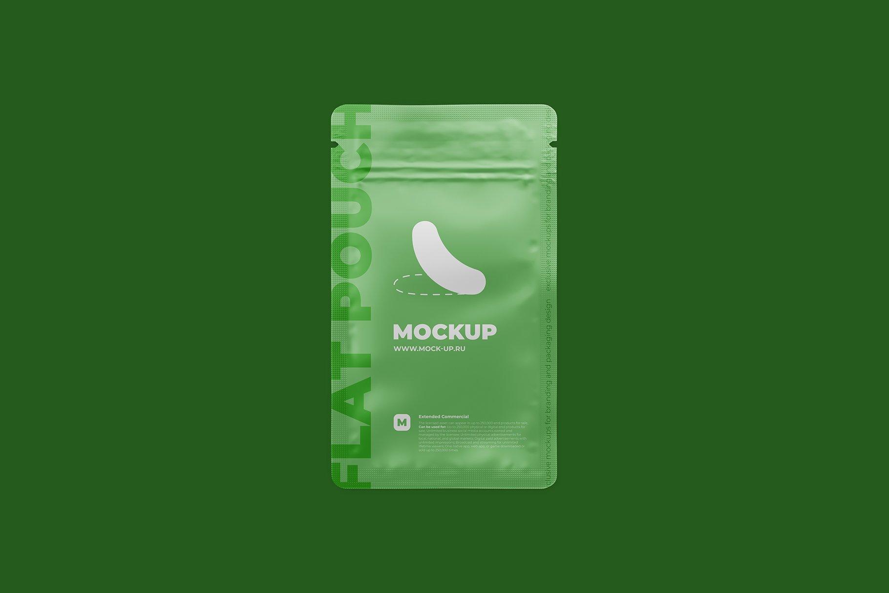简洁香料自封塑料袋设计展示贴图样机 Zip Sachet Mockup. Flat Empty Pouch插图7