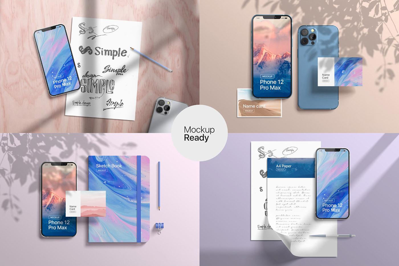 20款时尚苹果iPhone 12 Pro手机APP应用设计屏幕演示样机模板 iPhone 12 Pro Max Mockup插图8