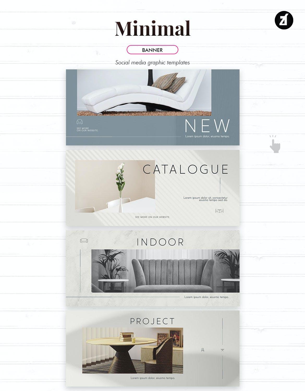 时尚家具设计作品集推广新媒体电商海报模板 Minimal Social Media Graphic Templates插图8