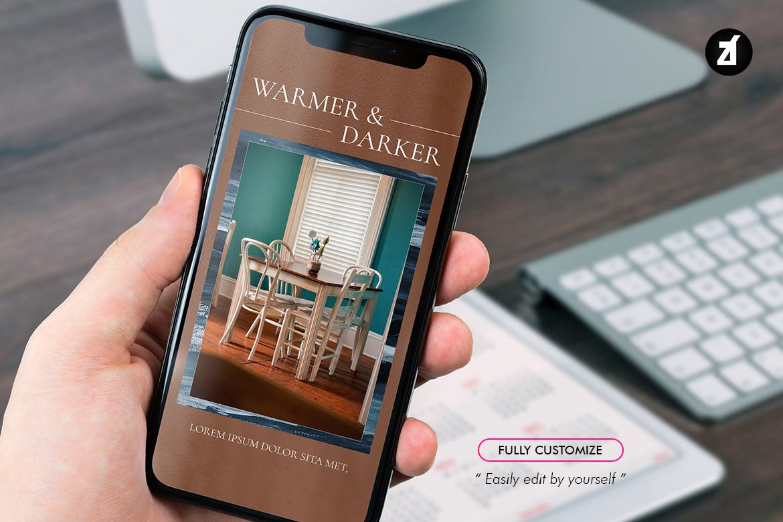 现代时尚室内家居设计作品集推广新媒体电商海报模板 The Simplest Social Media Graphic Templates插图7