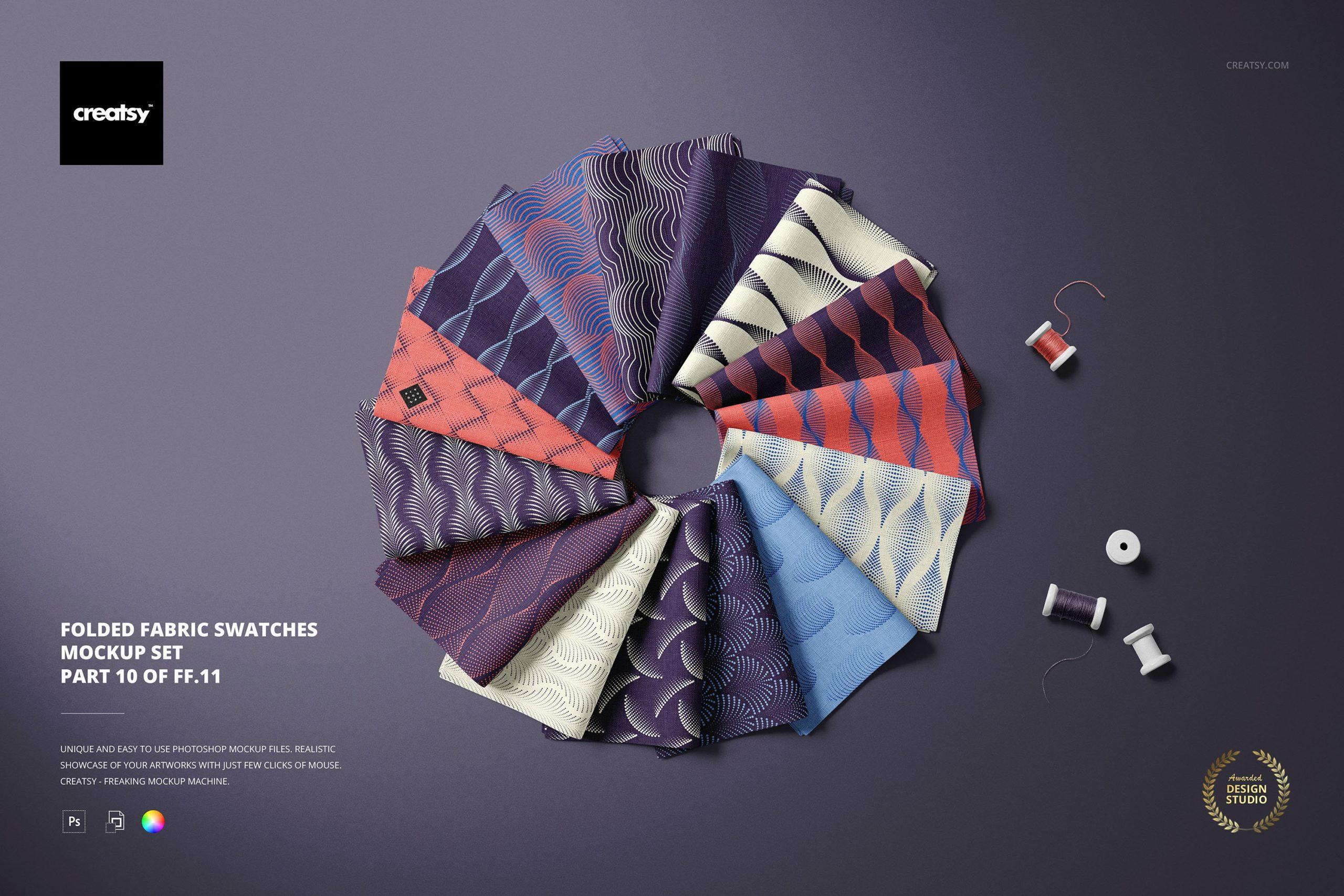 时尚折叠式绸缎面料印花图案设计贴图样机合集 Folded Fabric Swatches Mockup Set插图