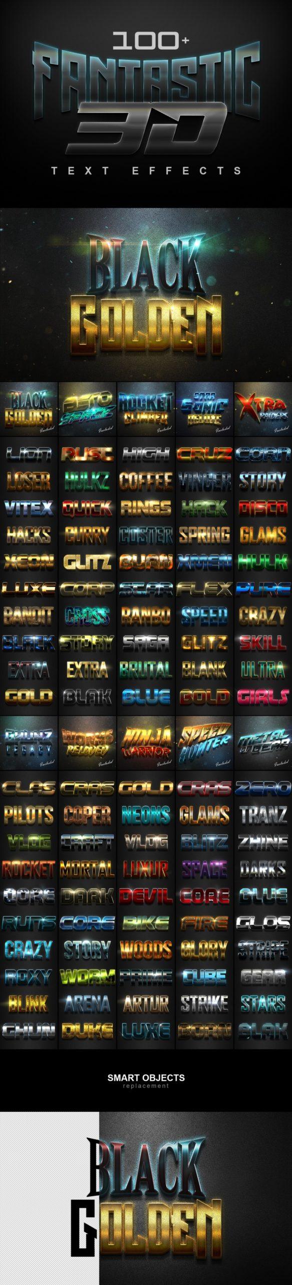 900多款3D立体金属质感标题Logo设计PS文字样式模板 900 Premium Photoshop Text Effects插图1