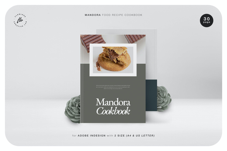极简主义美食食谱菜单杂志画册设计INDD模板 Mandora Food Recipe Cookbook插图
