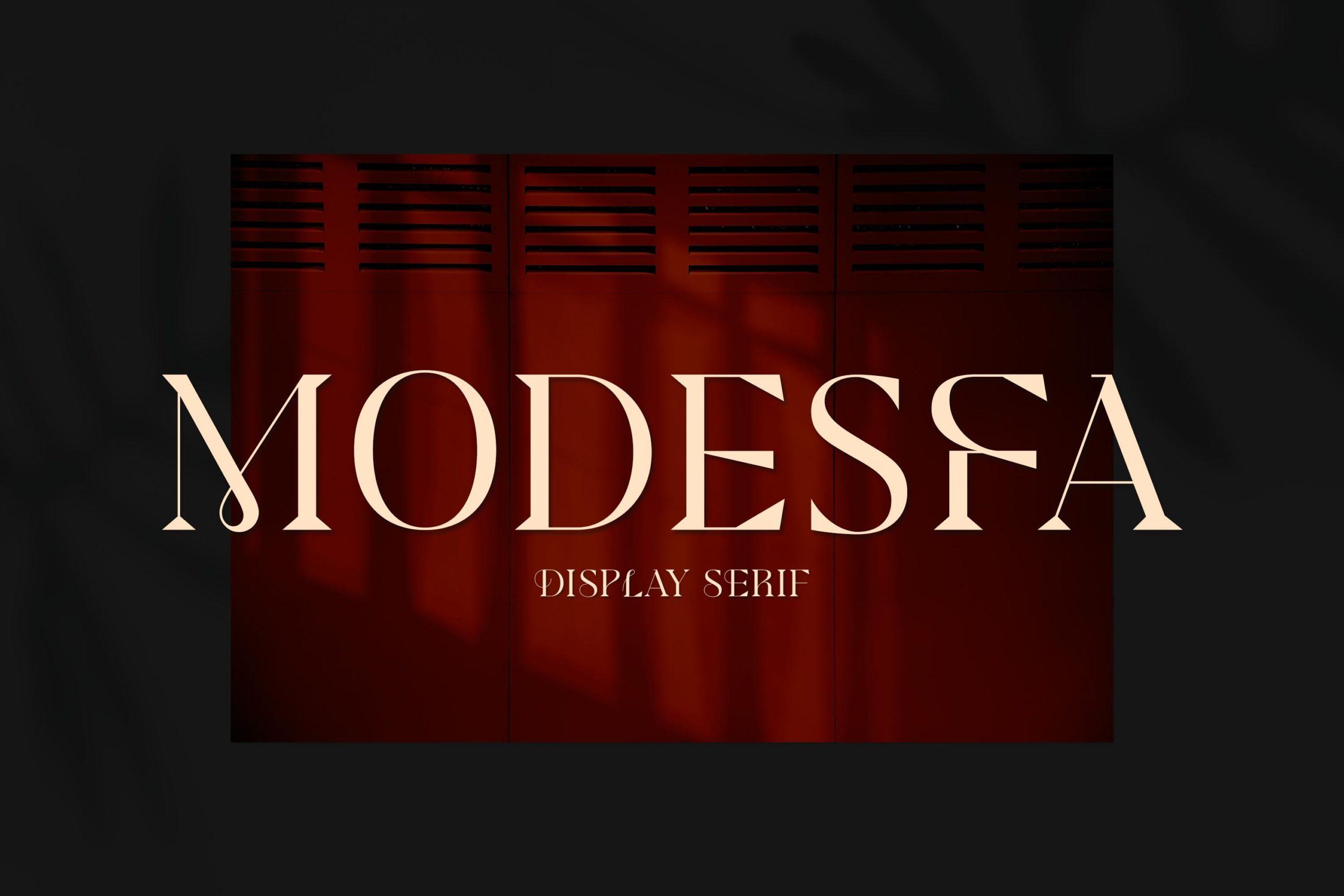 现代极简杂志画册标题徽标Logo设计衬线英文字体素材 Modesfa – Modern Display Serif插图