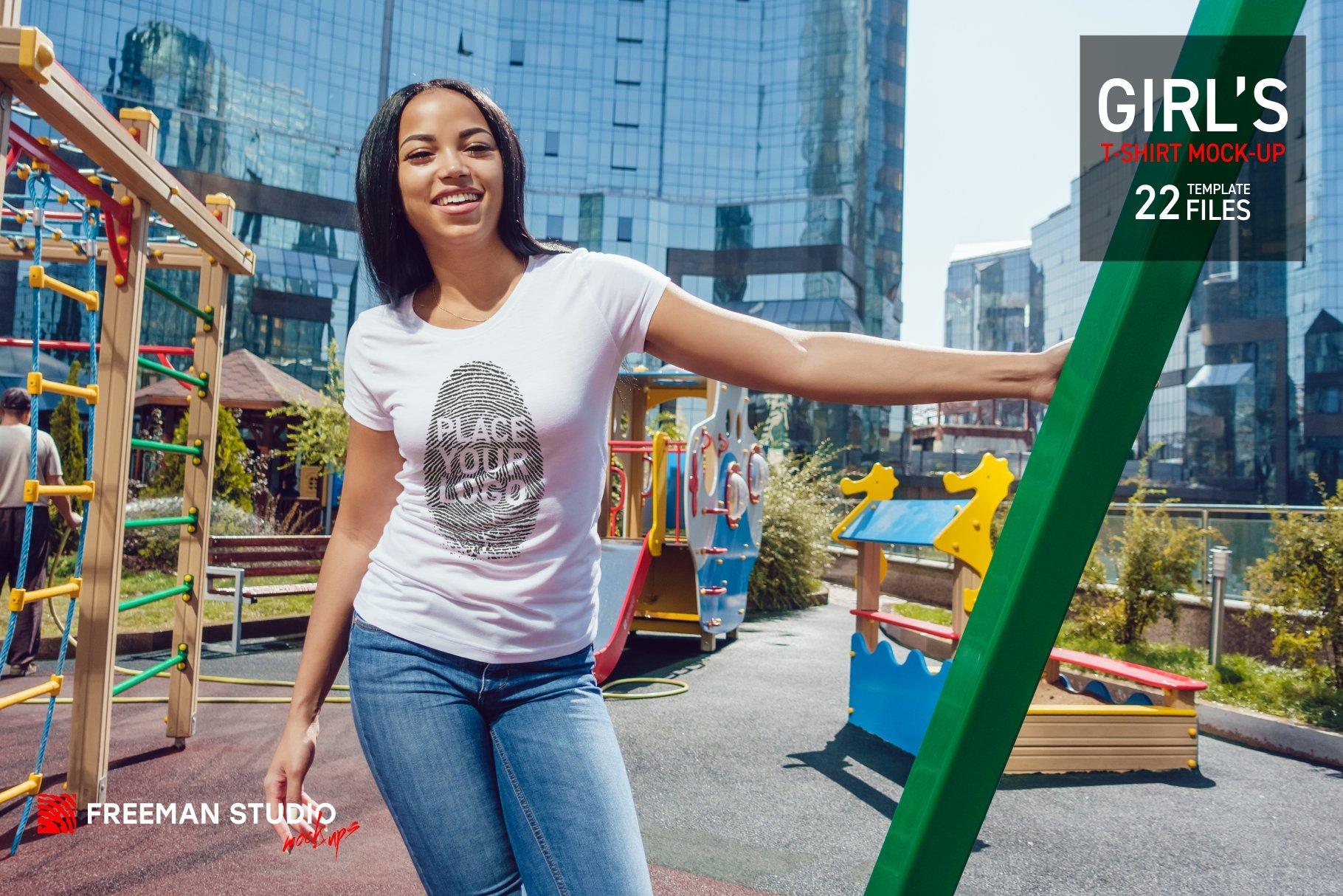 22款女孩半袖T恤衫印花图案设计展示贴图样机合集 Girls T-Shirt Mock-Up Set插图