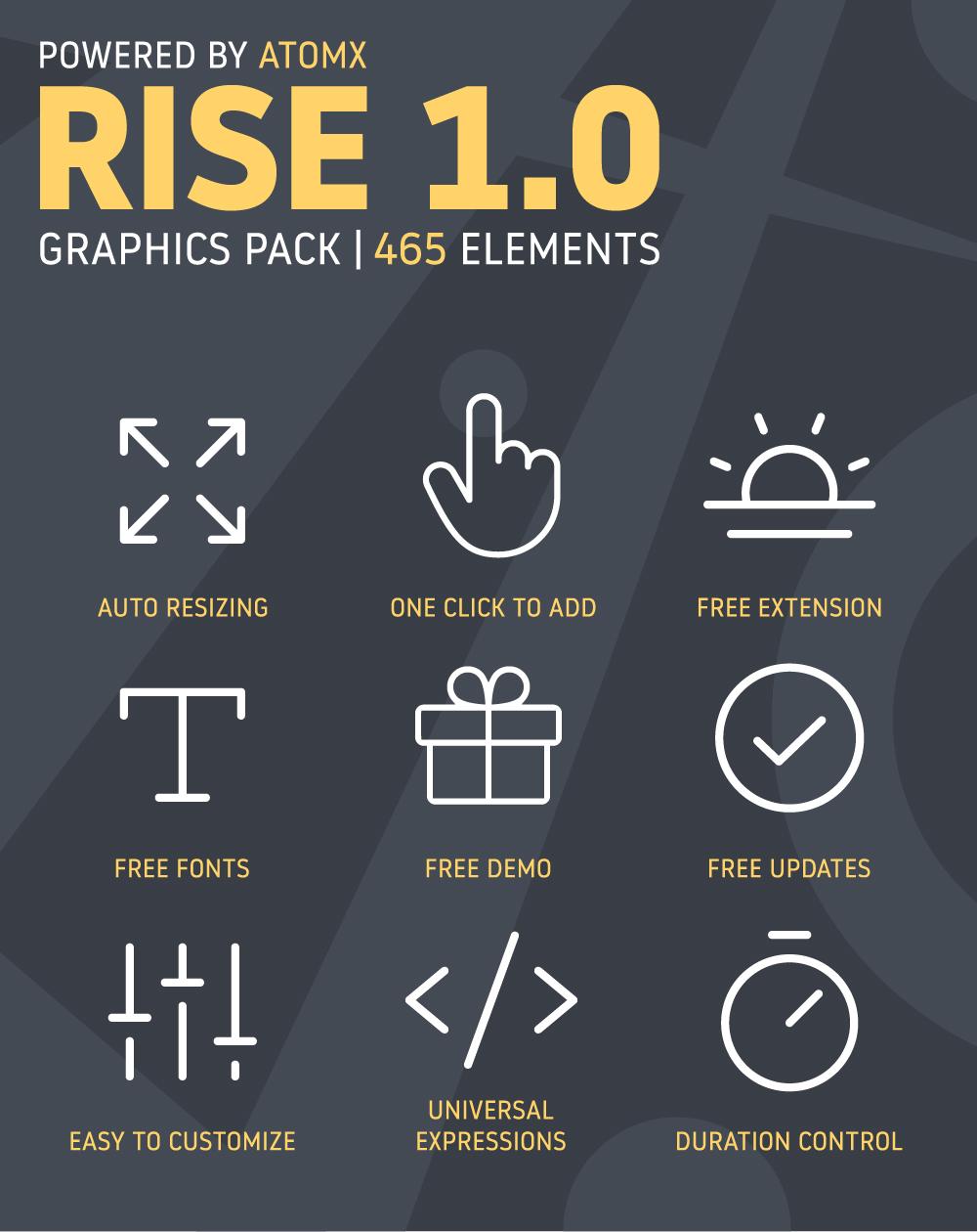 [单独购买] 465款潮流新媒体电商海报幻灯片标题徽标Logo设计动画演示AE视频模板素材 Graphics Pack Rise插图1