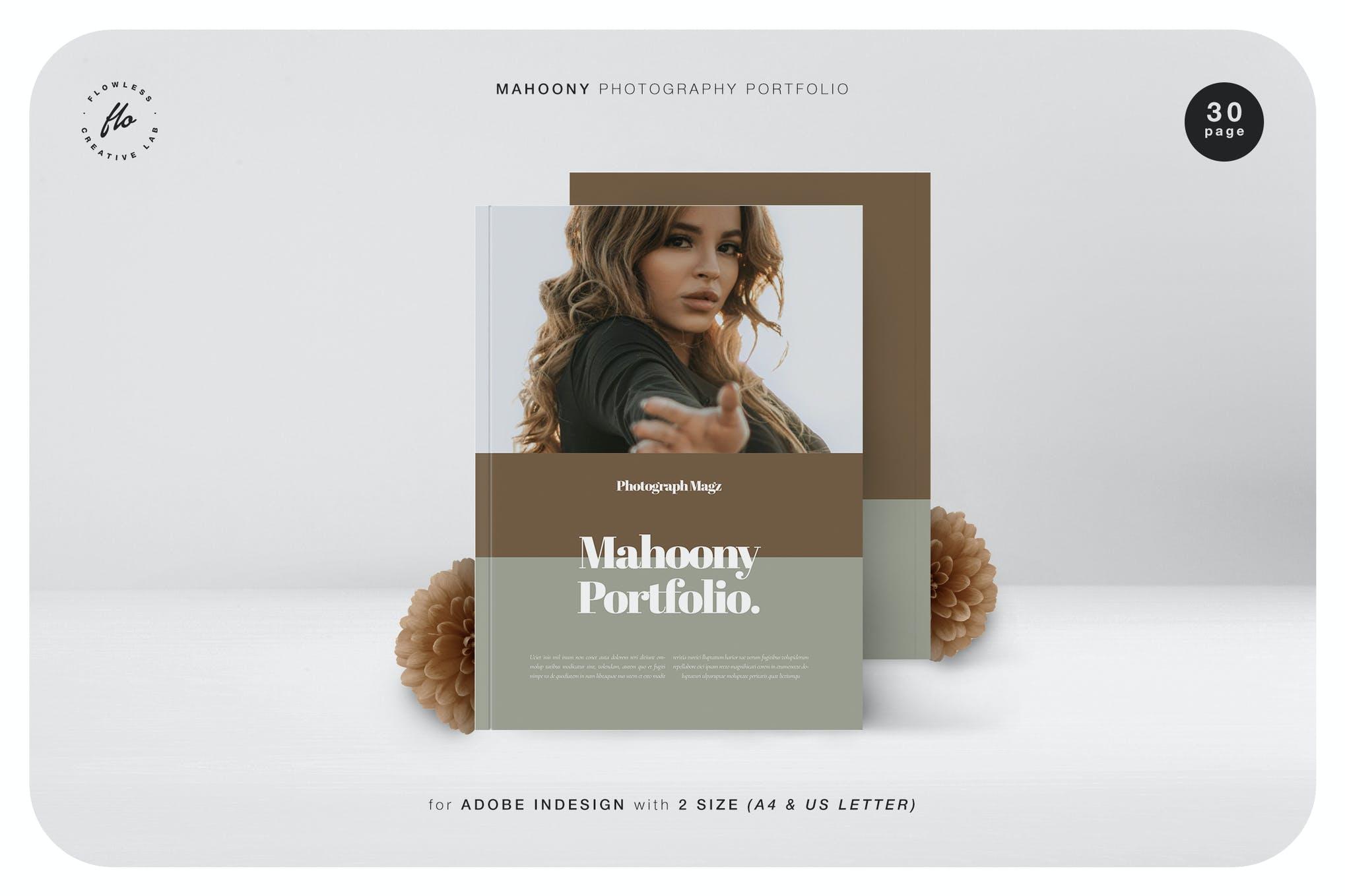 服装摄影作品集排版杂志INDD素材模板 Mahoony Photography Portfolio插图