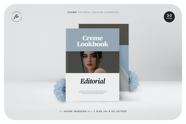 极简主义摄影作品集画册设计INDD模板素材 Creme Editorial Fashion Lookbook插图