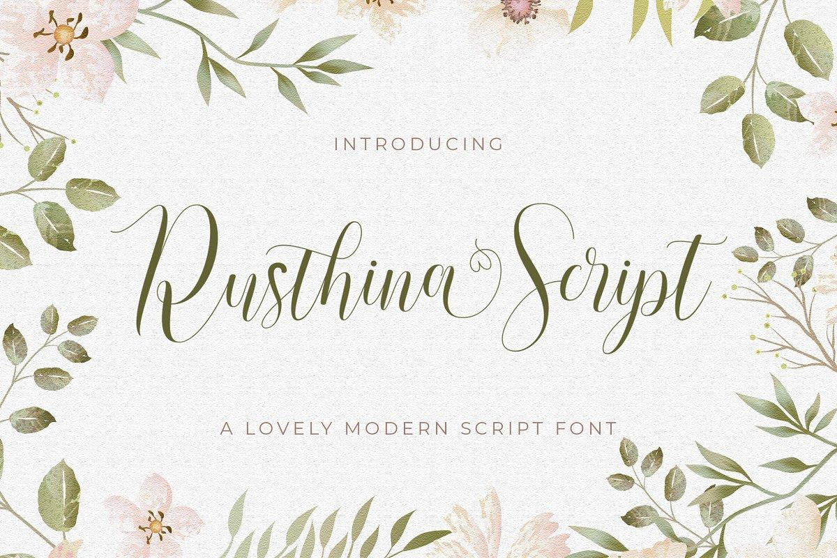 现代优雅杂志标题徽标Logo设计手写英文字体素材 Rusthina Font插图